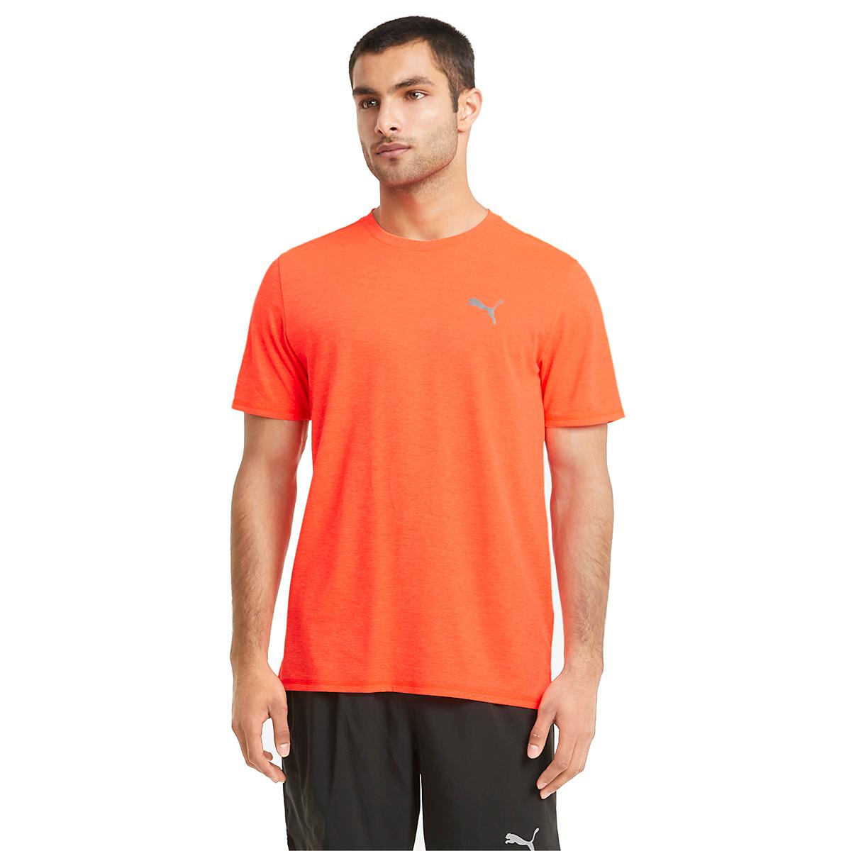 Men's Puma Favorite Heather Short Sleeve Running Tee - Color: Lava Blast - Size: S, Lava Blast, large, image 1