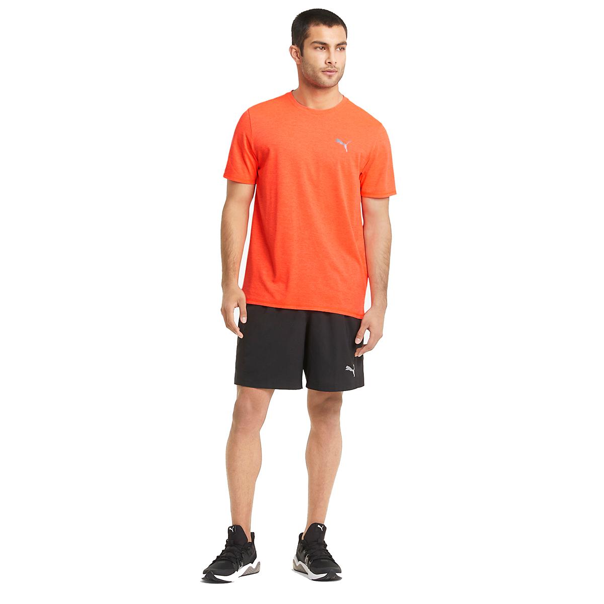 Men's Puma Favorite Heather Short Sleeve Running Tee - Color: Lava Blast - Size: S, Lava Blast, large, image 3