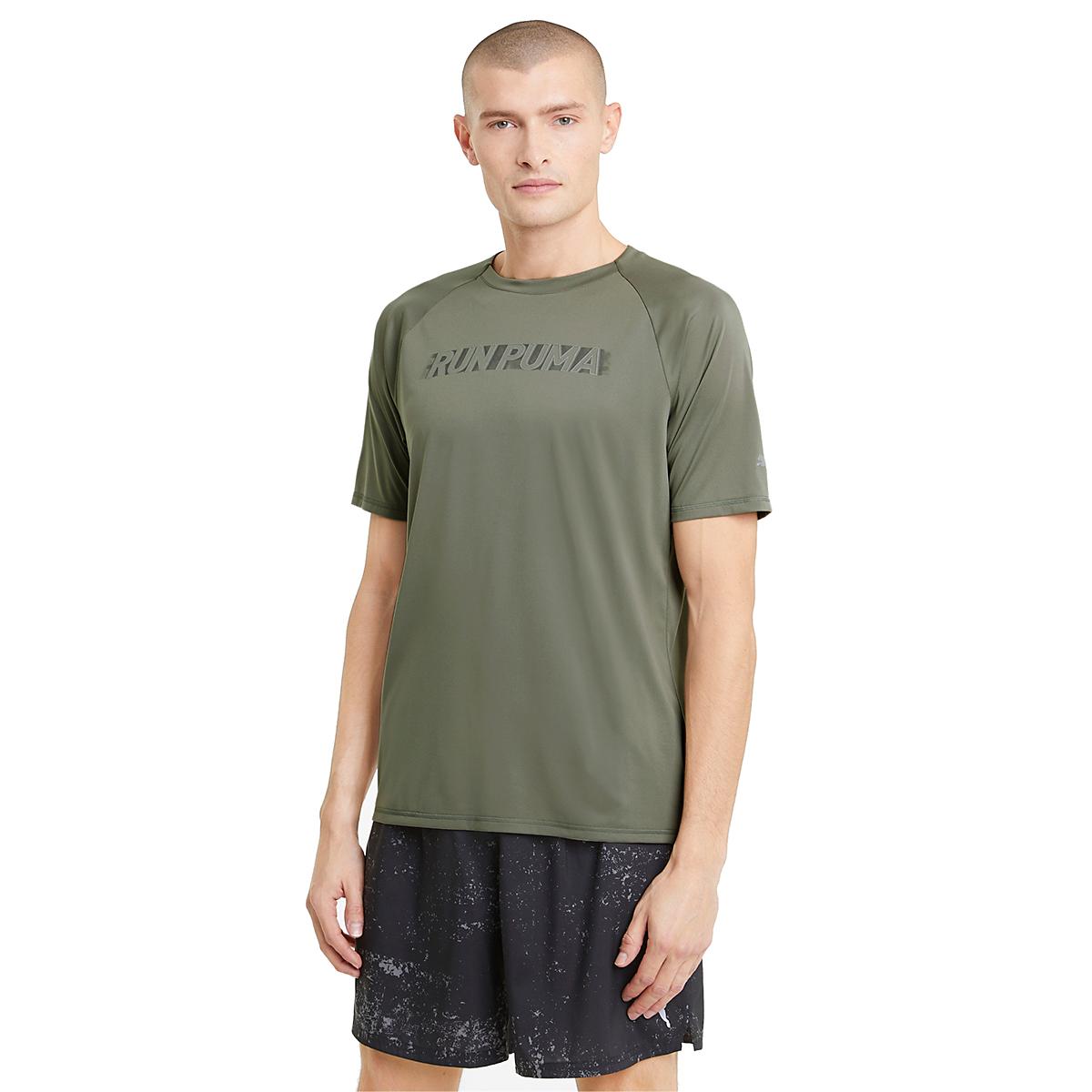 Men's Puma Run Lite COOLadapt Short Sleeve Tee - Color: Vetiver - Size: XXS, Vetiver, large, image 1