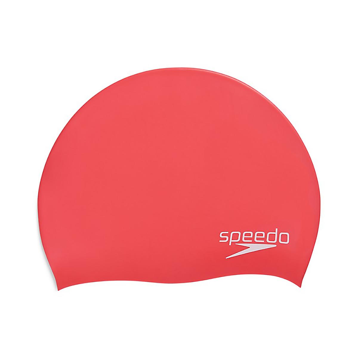 Speedo Elastomeric Solid Silicone Swim Cap - Color: Red, Red, large, image 1