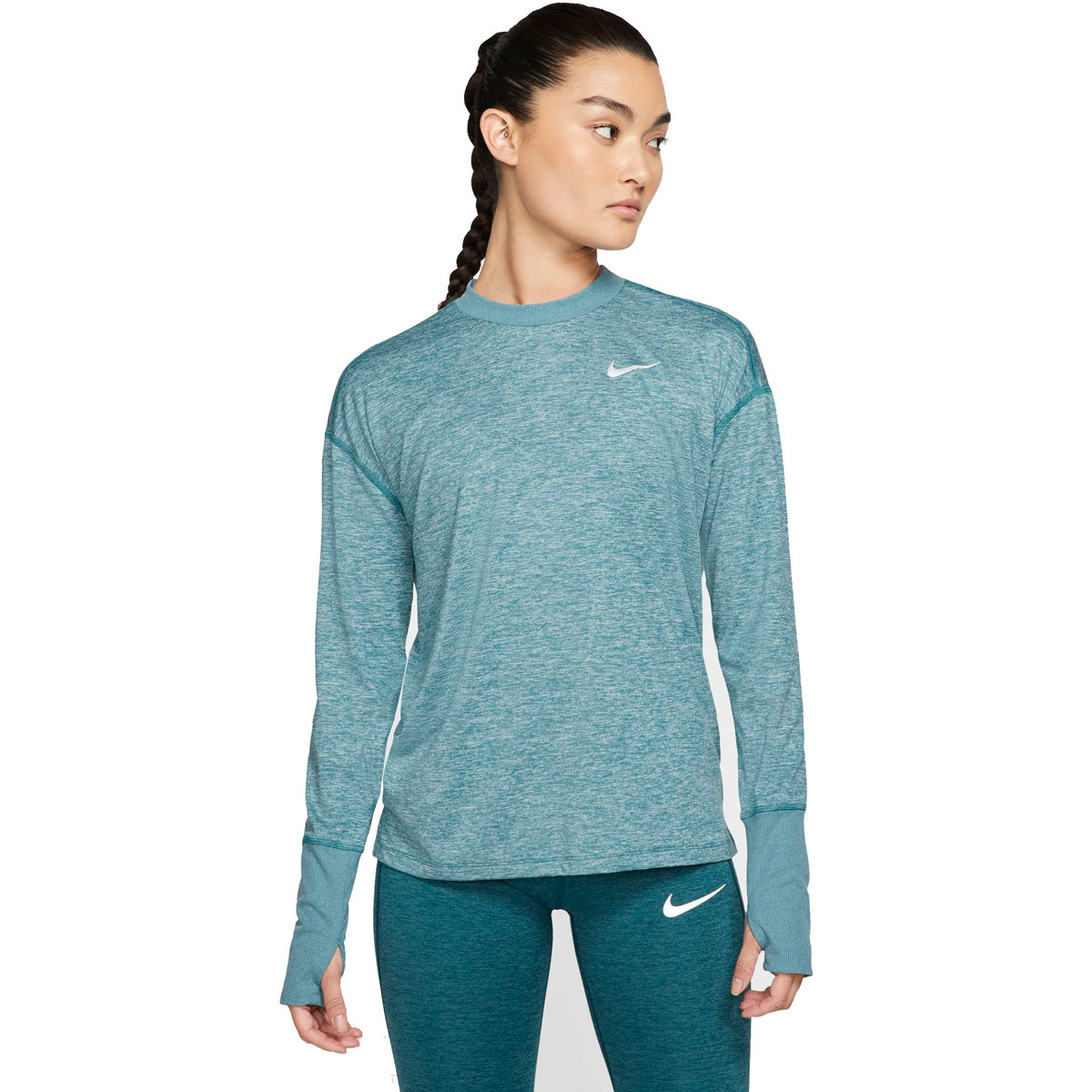 Women's Nike Element Running Top - Color: Mineral Teal/Htr/Reflective Silver - Size: S, Mineral Teal/Htr/Reflective Silver, large, image 1