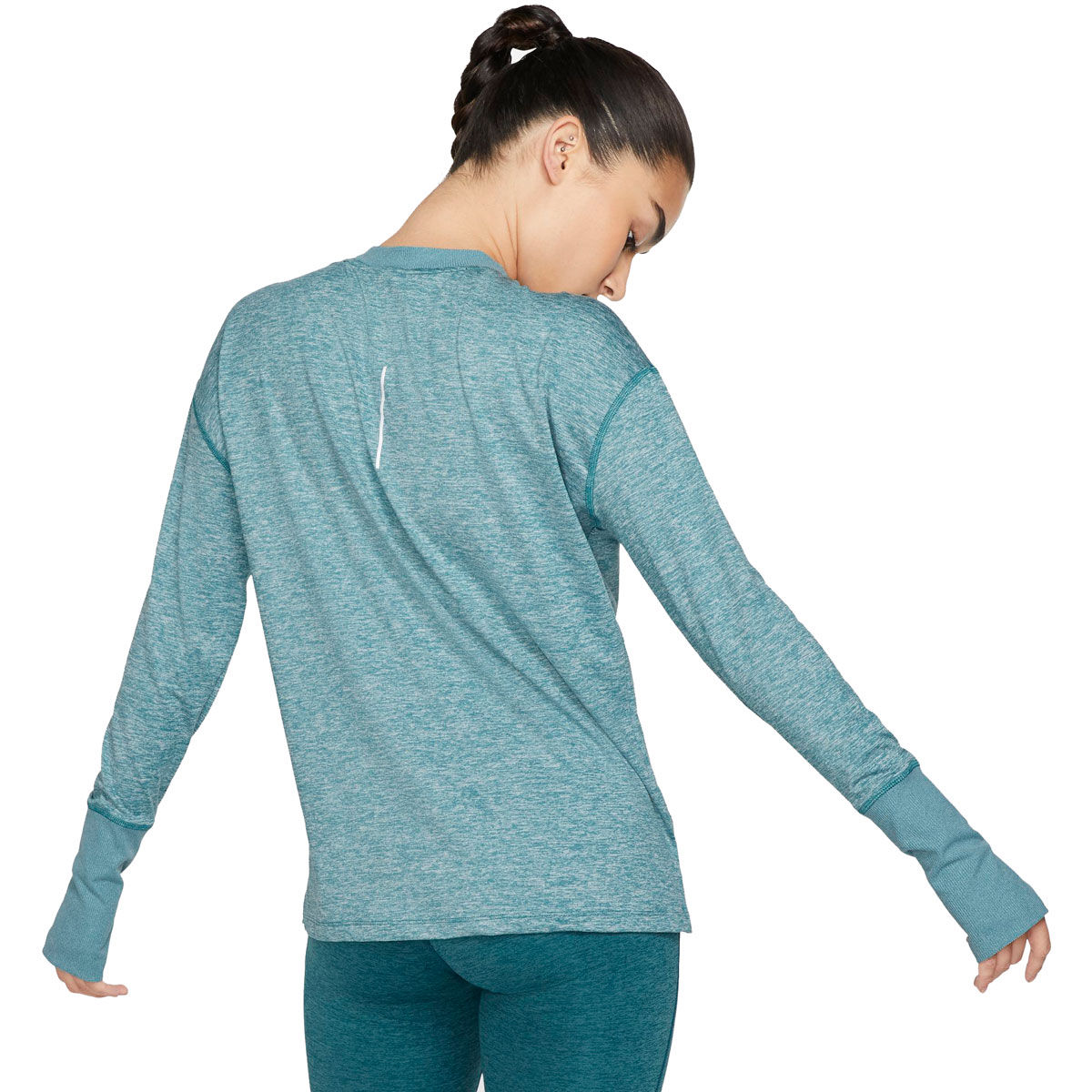 Women's Nike Element Running Top - Color: Mineral Teal/Htr/Reflective Silver - Size: S, Mineral Teal/Htr/Reflective Silver, large, image 2