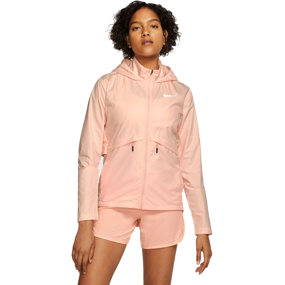 Women's Nike Essential Packable Running Rain Jacket - Color: Washed Coral/Reflective Silver - Size: M, Washed Coral/Reflective Silver, large, image 1