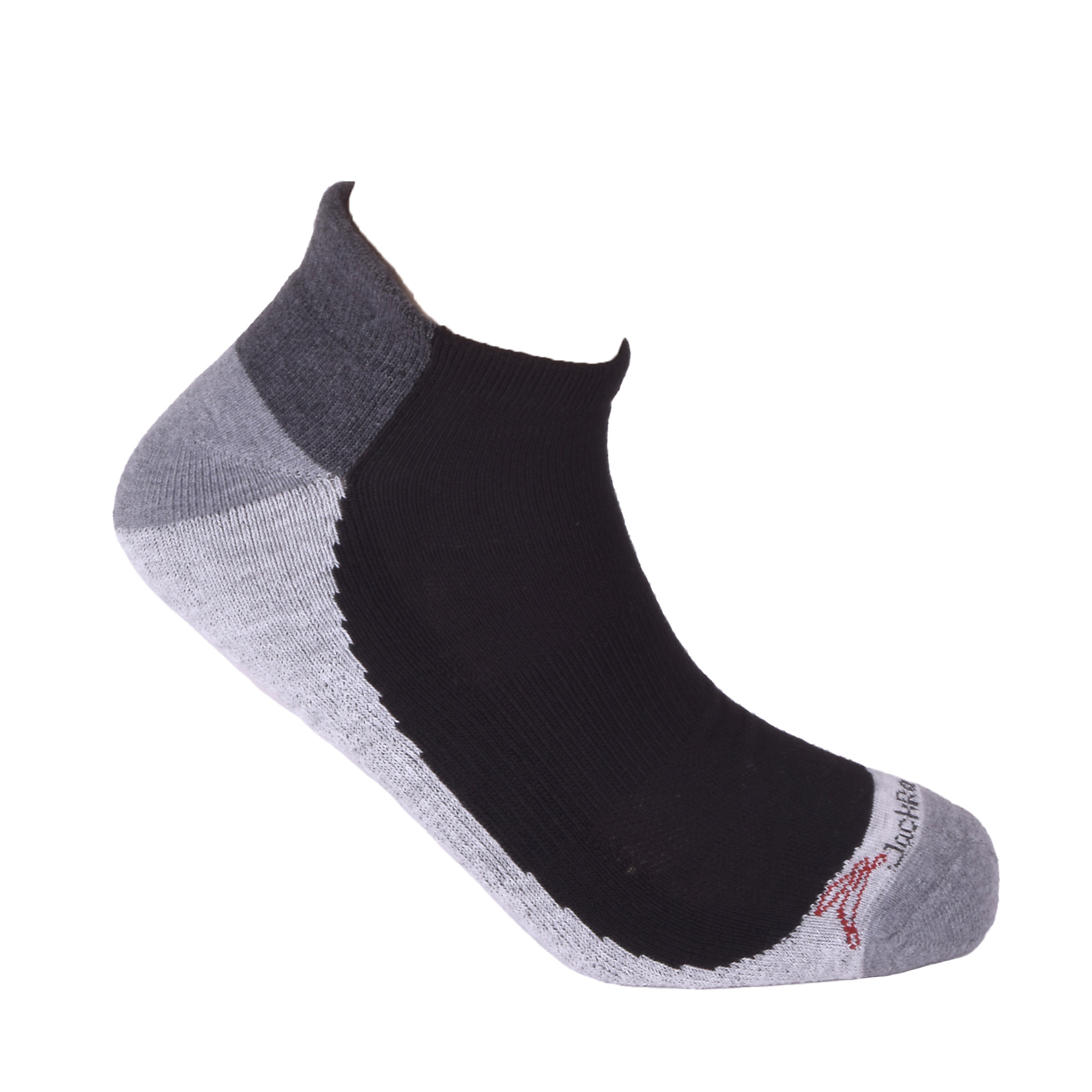 JackRabbit No Show Tab Cushion Performance Running Sock - Color: Black/Grey - Size: S, Black/Grey, large, image 3