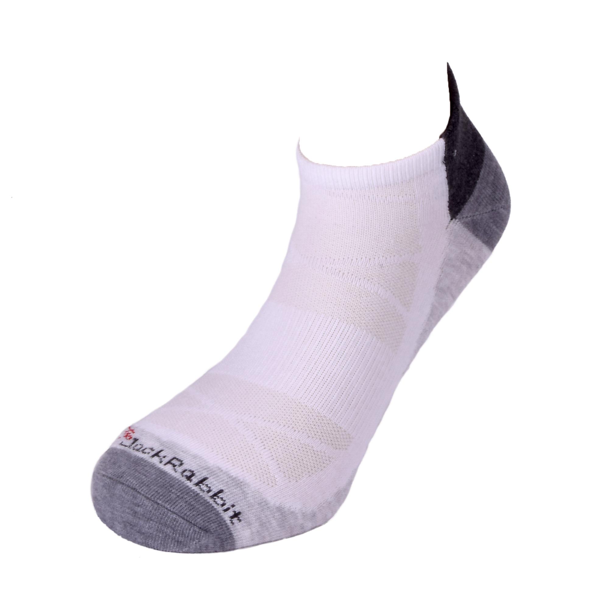 JackRabbit No Show Tab Lite Performance Running Sock - Color: White - Size: S, White/Grey, large, image 2