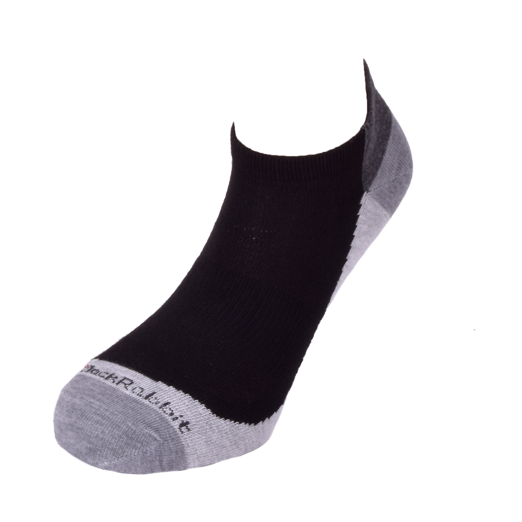 JackRabbit No Show Tab Lite Performance Running Sock - Color: Black - Size: S, Black/Grey, large, image 2