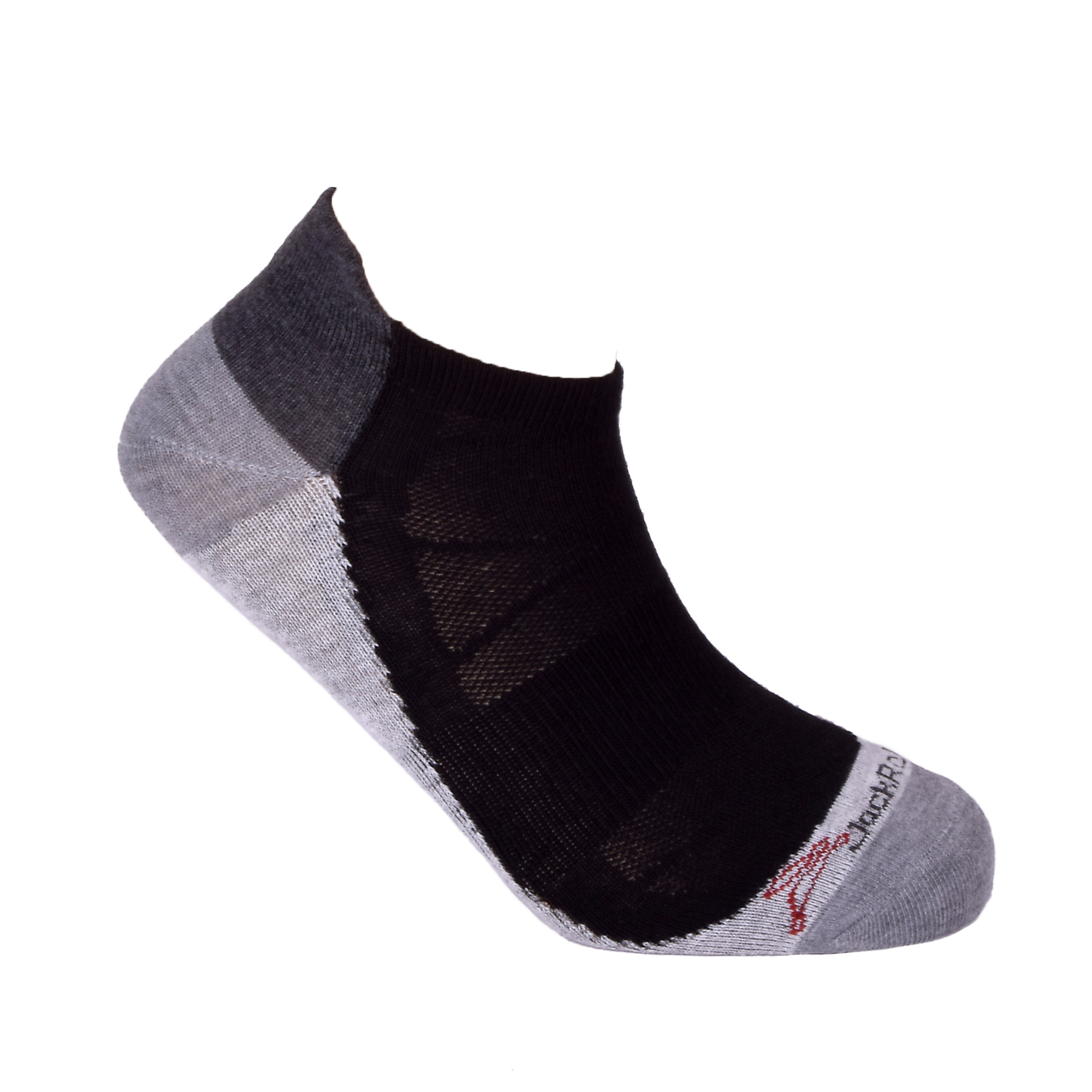 JackRabbit No Show Tab Lite Performance Running Sock - Color: Black - Size: S, Black/Grey, large, image 3