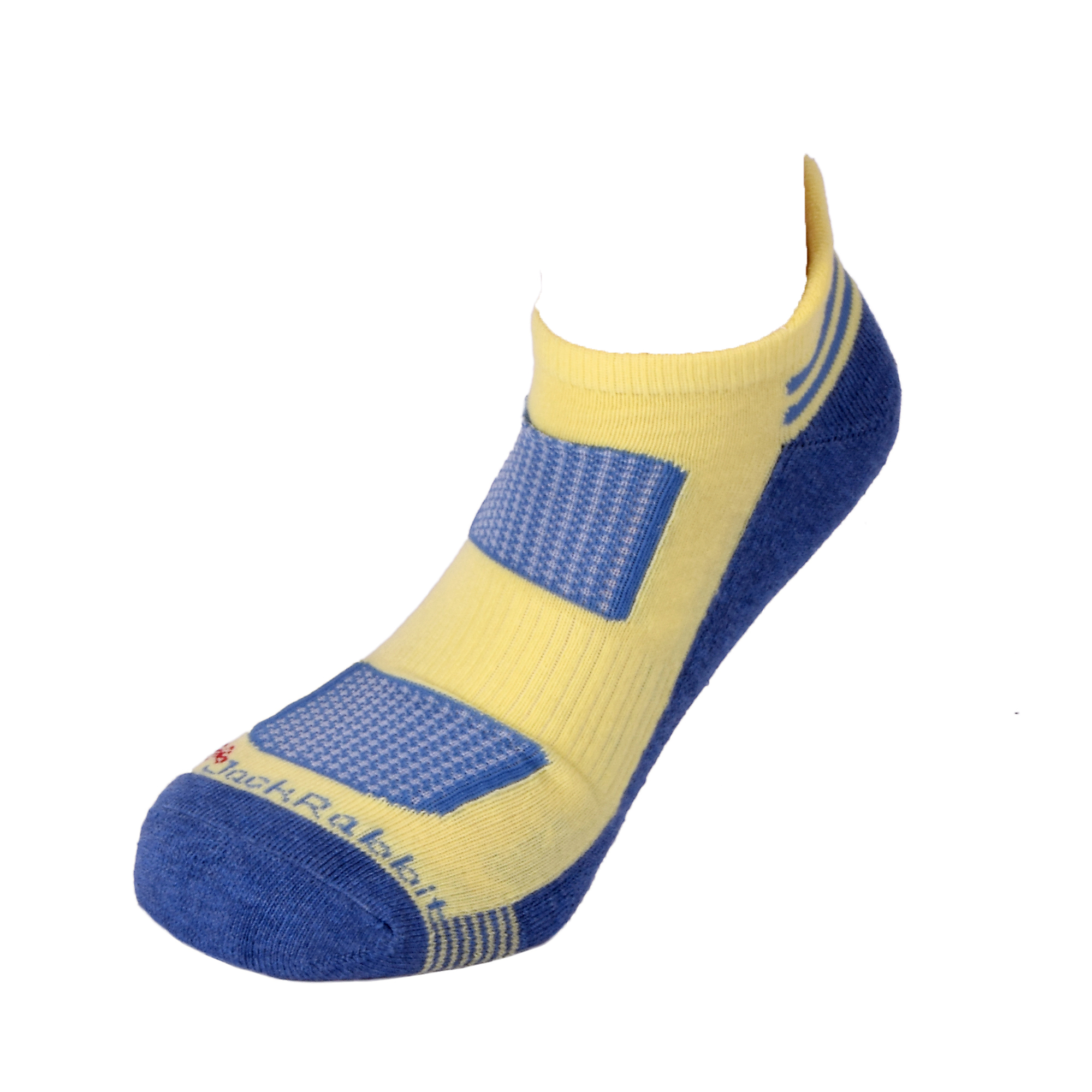 JackRabbit No Show Tab Cushion Socks 1 Pack - Color: Yellow/Navy - Size: S, Yellow/Navy, large, image 2