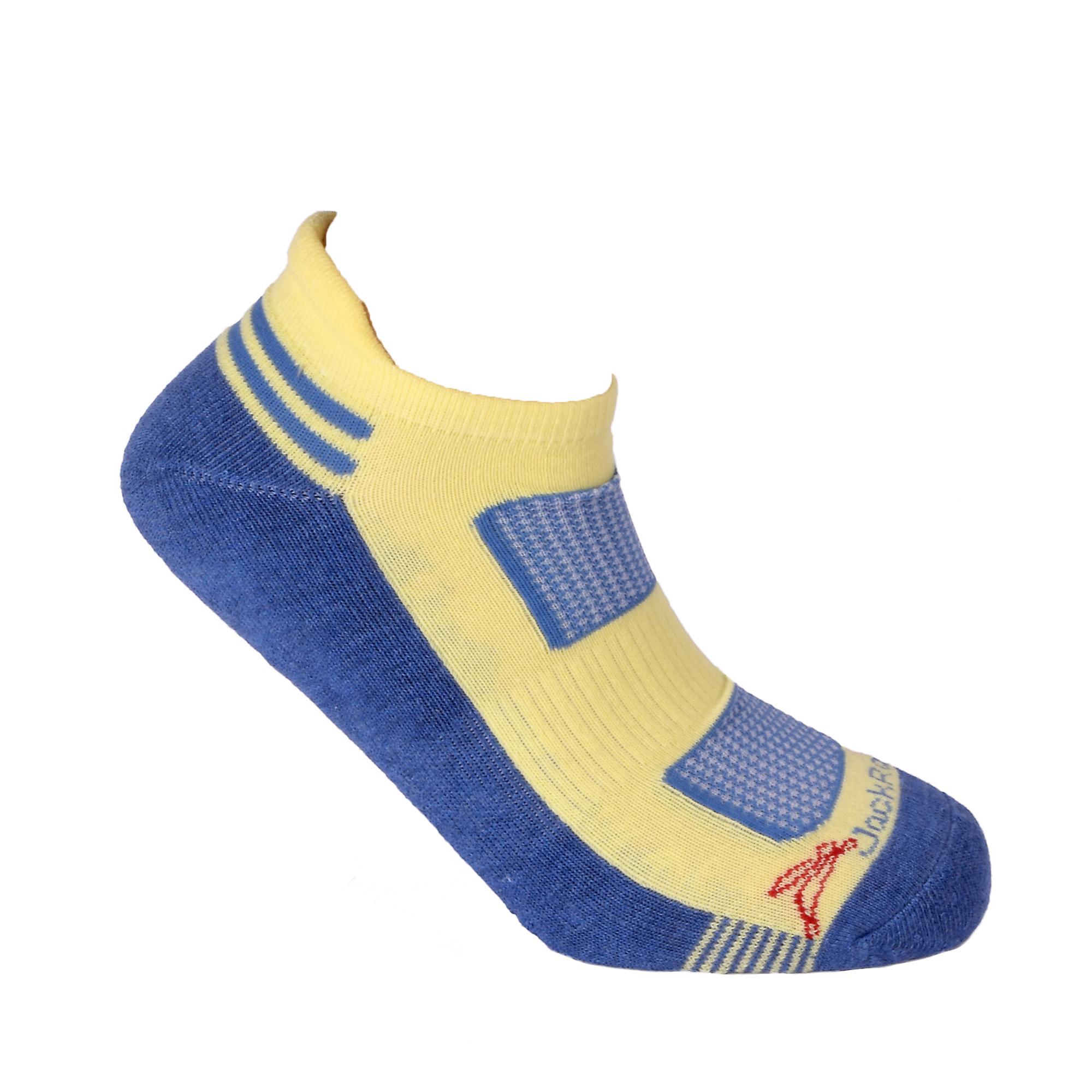 JackRabbit No Show Tab Cushion Socks 1 Pack - Color: Yellow/Navy - Size: S, Yellow/Navy, large, image 3