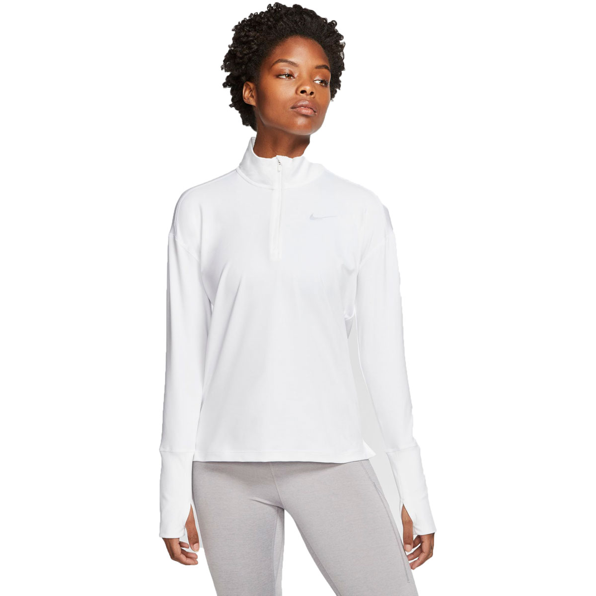 Women's Nike Element 1/2-Zip Running Top - Color: White/Reflective Silver - Size: S, White/Reflective Silver, large, image 1