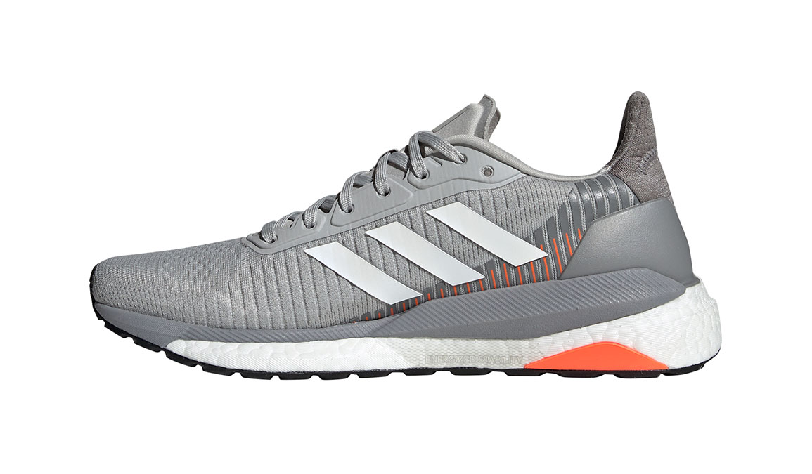 Women's Adidas SolarGlide ST 19 Running Shoe - Color: Grey/White/Solar Orange (Regular Width) - Size: 5.5, Grey/White, large, image 3