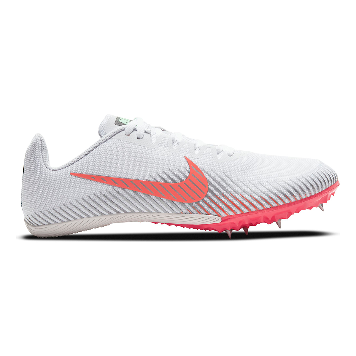 Nike Zoom Rival M 9 Track Spikes - Color: White/Flash Crimson/Hyper Jade/Black - Size: M4/W5.5 - Width: Regular, White/Flash Crimson/Hyper Jade/Black, large, image 1