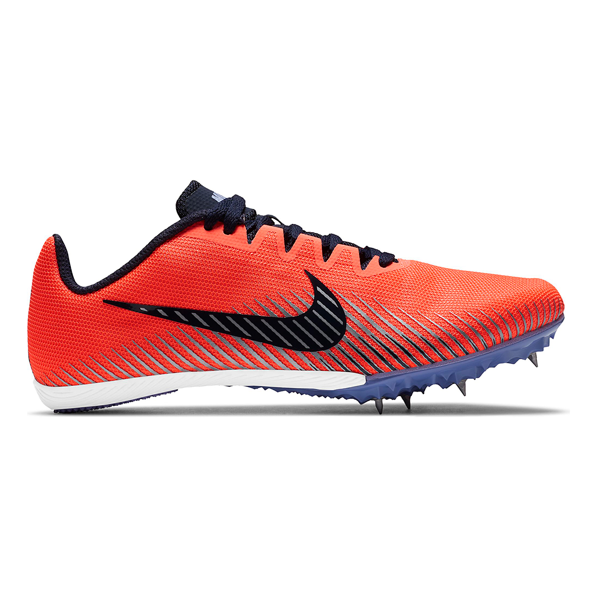 Women's Nike Zoom Rival M 9 Track Spikes - Color: Bright Mango/Blackend Blue - Size: 4 - Width: Regular, Bright Mango/Blackend Blue, large, image 1