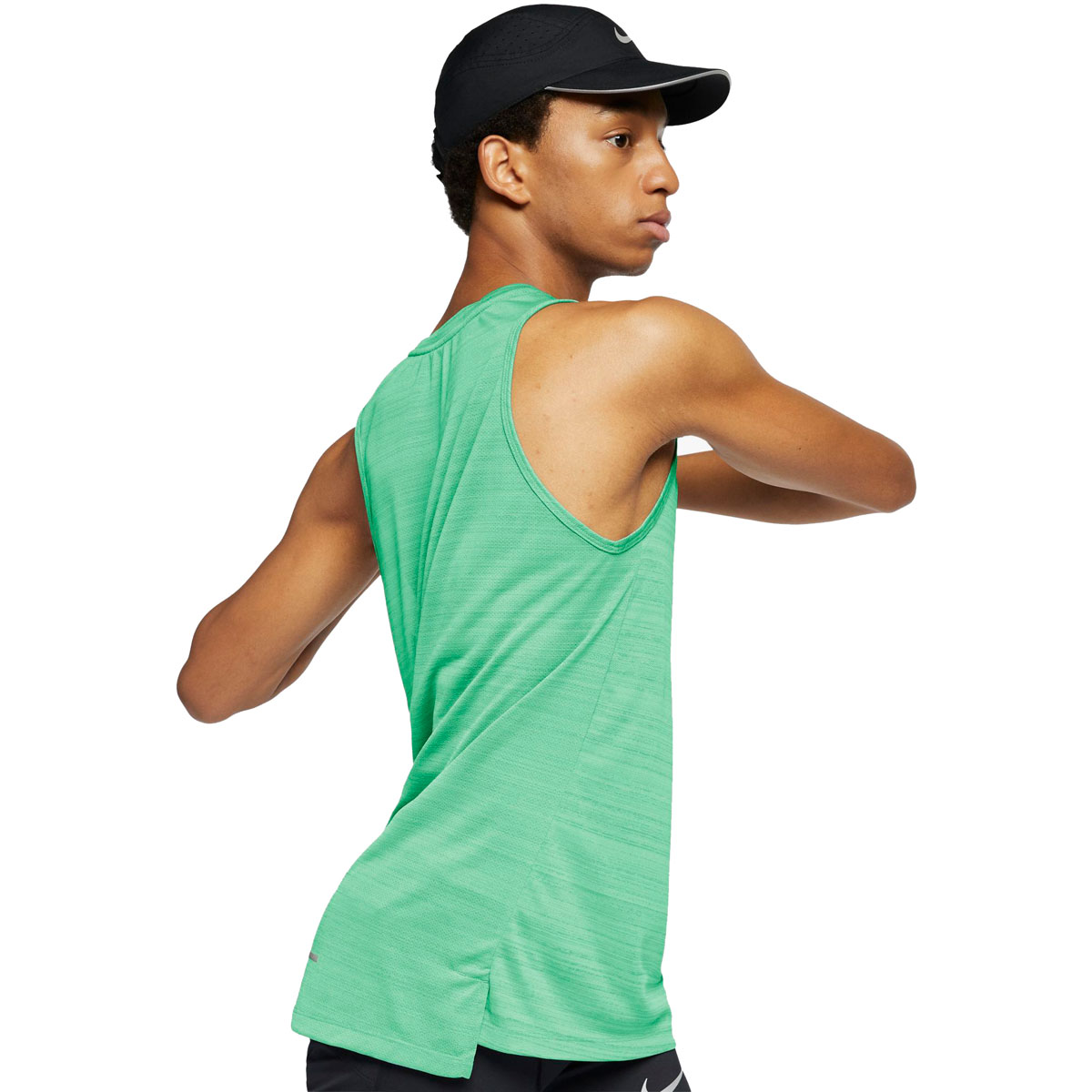 Men's Nike Dri-FIT Miler Running Tank - Color: Vapor Green/Htr/Reflective Silver - Size: S, Vapor Green/Heather/Reflective Silver, large, image 3