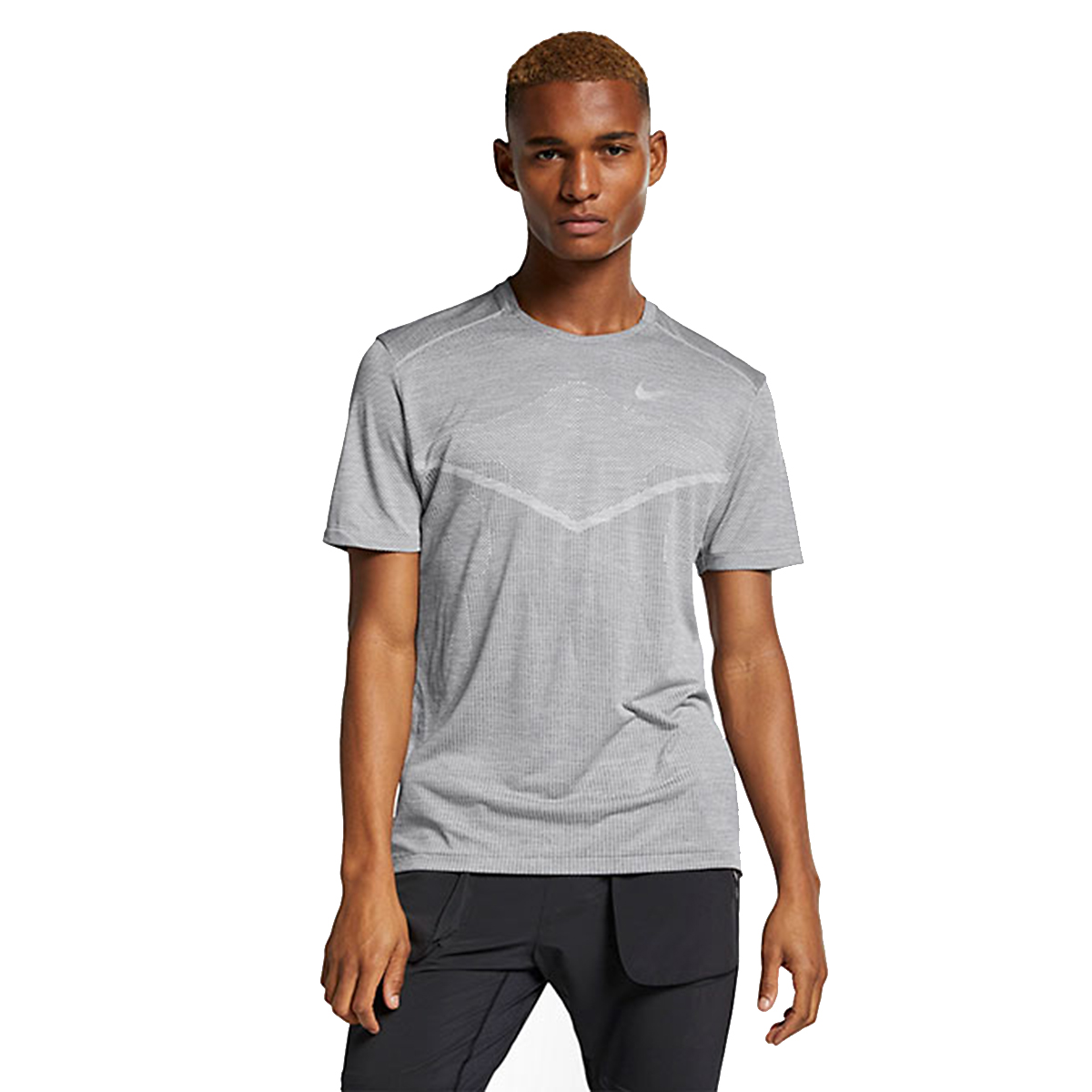 Men's Nike Techknit Ultra Top Short Sleeve Shirt - Color: Gunsmoke/Atmosphere Grey - Size: S, Gunsmoke/Atmosphere Grey, large, image 1
