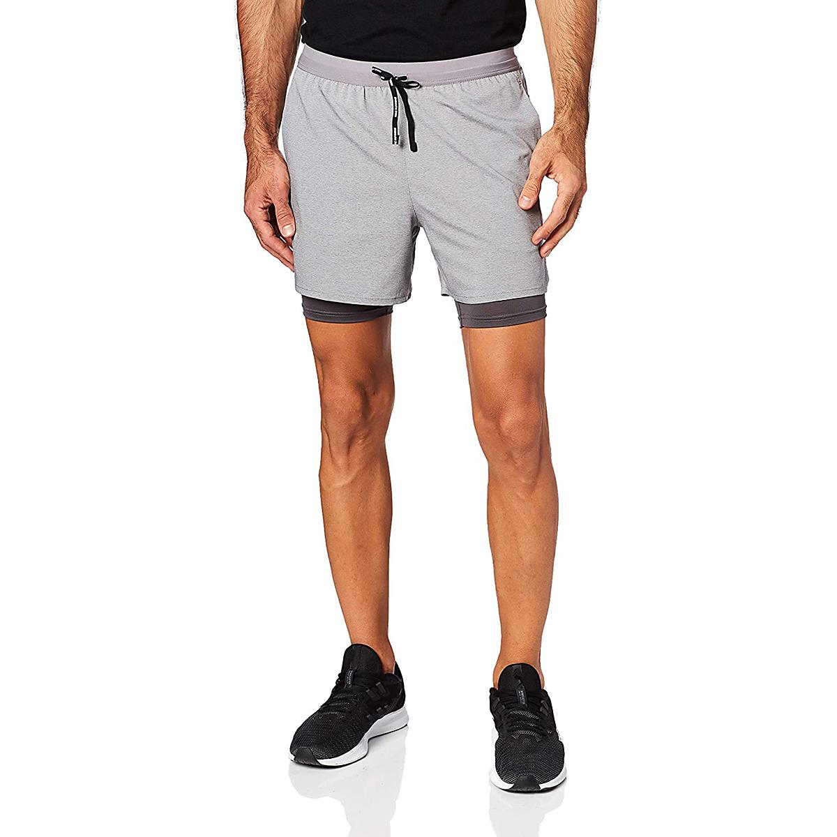 "Men's Nike Dri-FIT Flex Stride 7"" 2-in-1 Shorts - Color: Gunsmoke/Heather/Thunder Grey/Metallic Silver - Size: S, Gunsmoke/Heather/Thunder Grey/Metallic Silver, large, image 1"