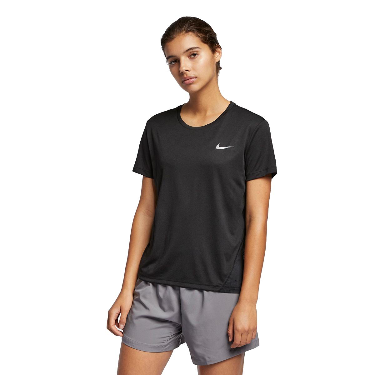 Women's Nike Miler Short Sleeve - Color: Black - Size: XS - Width:, Black, large, image 1