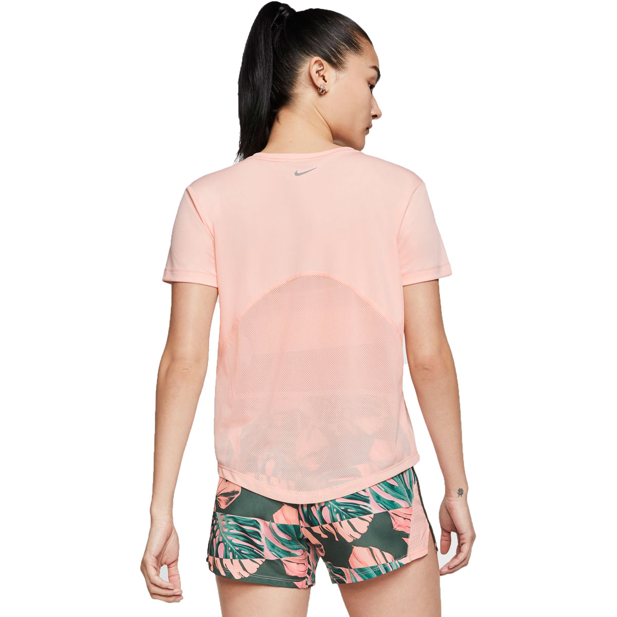 Women's Nike Miler Short-Sleeve Running Top - Color: Washed Coral/Reflective Silver - Size: XS, Washed Coral/Reflective Silver, large, image 2