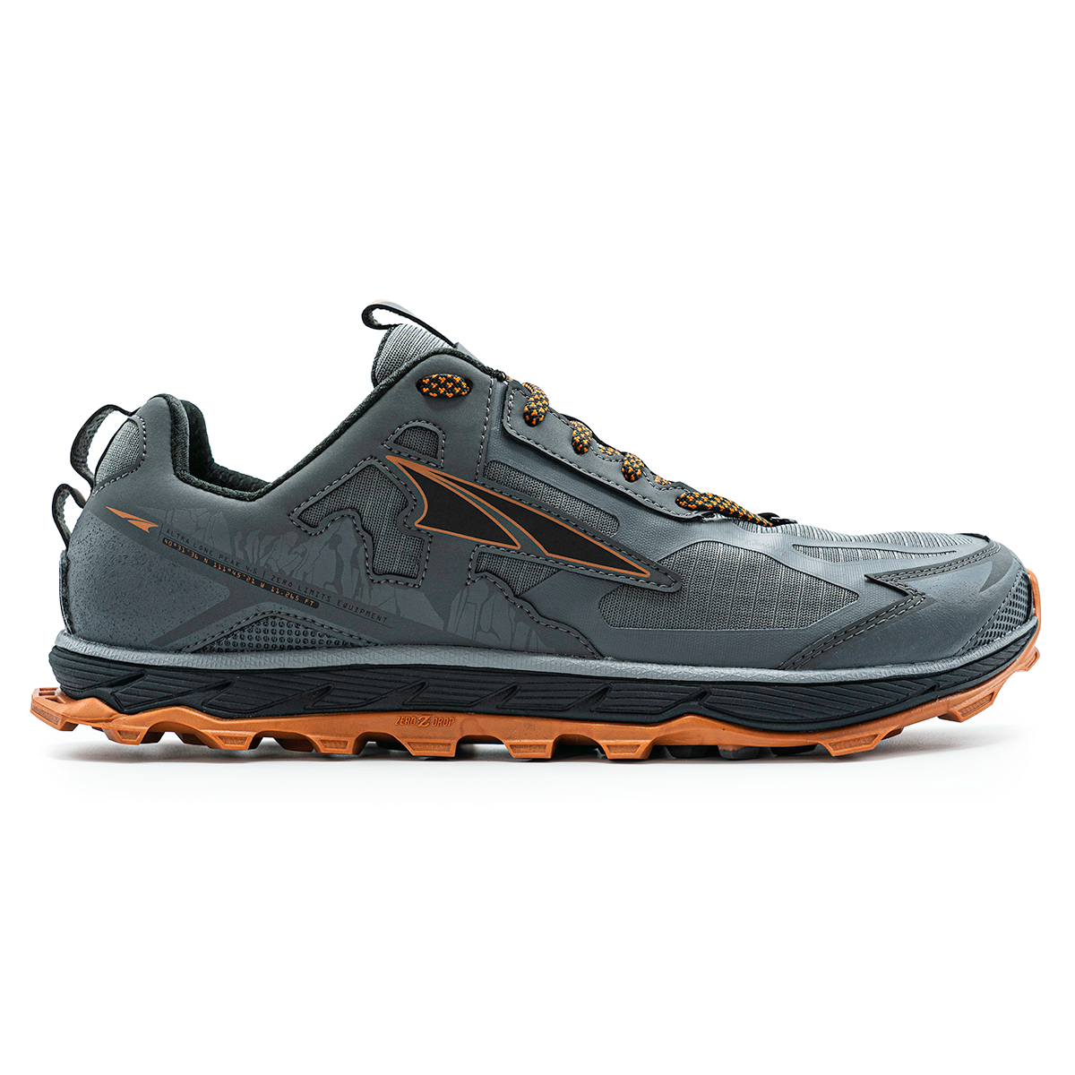 Men's Altra Lone Peak 4.5 Low Trail Running Shoe - Color: Gray/Orange - Size: 10 - Width: Regular, Gray/Orange, large, image 1
