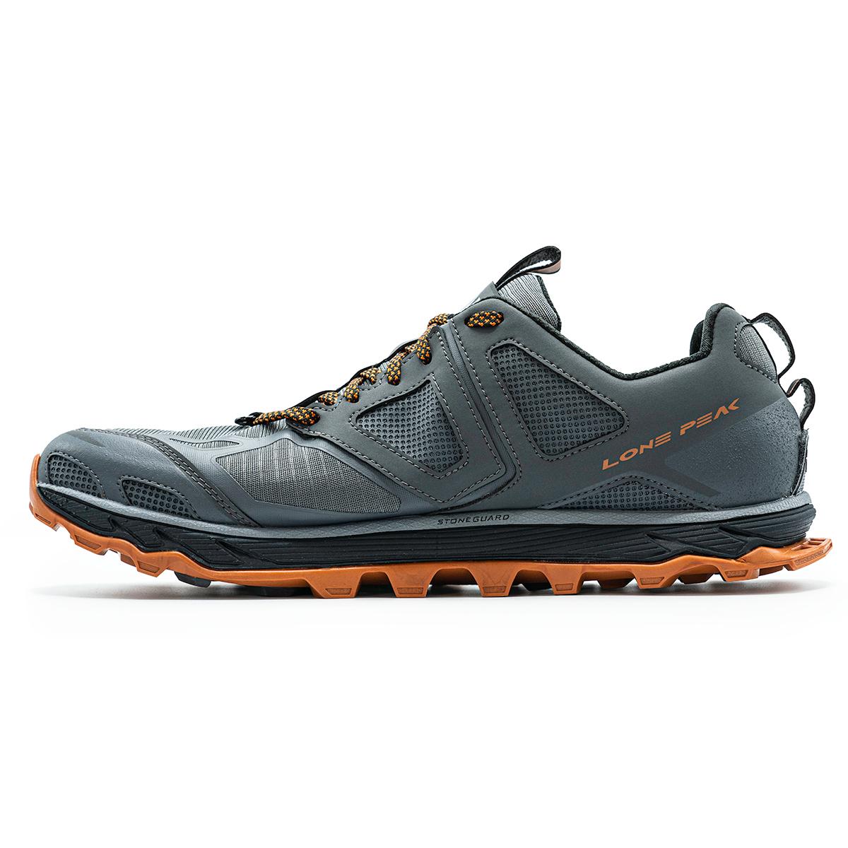 Men's Altra Lone Peak 4.5 Low Trail Running Shoe - Color: Gray/Orange - Size: 10 - Width: Regular, Gray/Orange, large, image 2