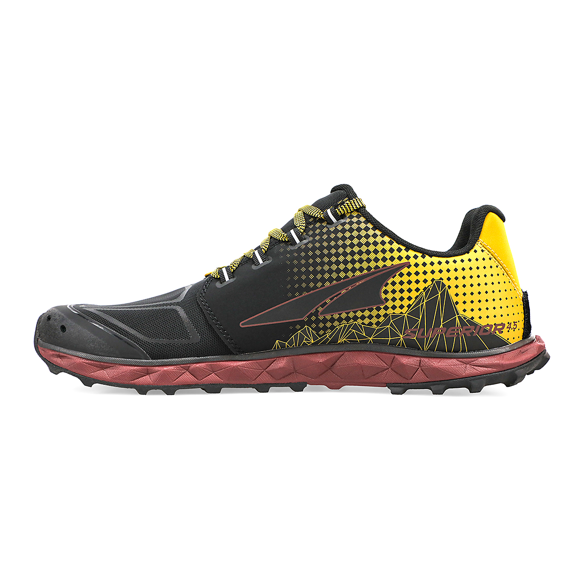 Men's Altra Superior 4.5 Trail Running Shoe - Color: Yellow/Port - Size: 7 - Width: Regular, Yellow/Port, large, image 2