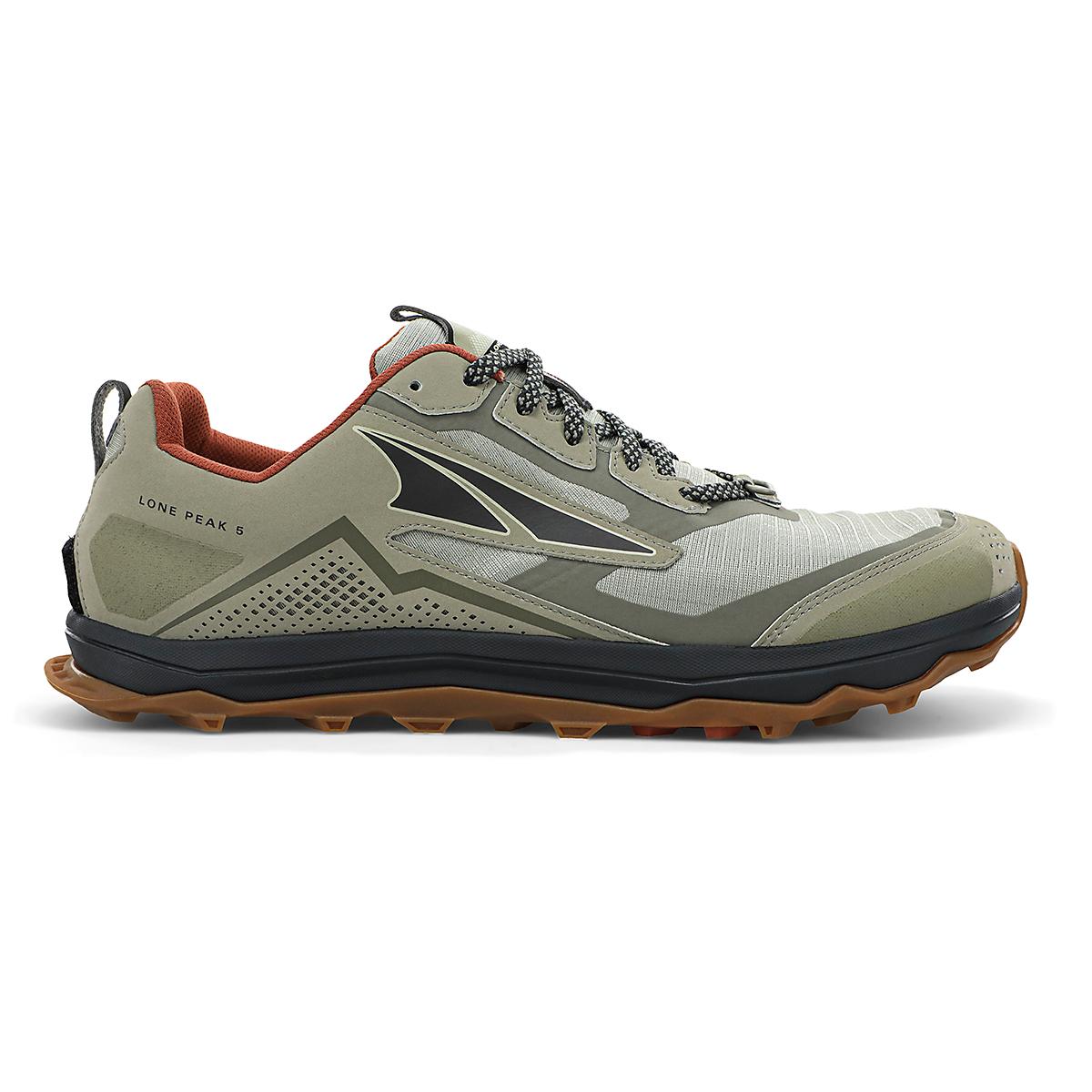 Men's Altra Lone Peak 5 Trail Running Shoe - Color: Khaki - Size: 7 - Width: Regular, Khaki, large, image 1