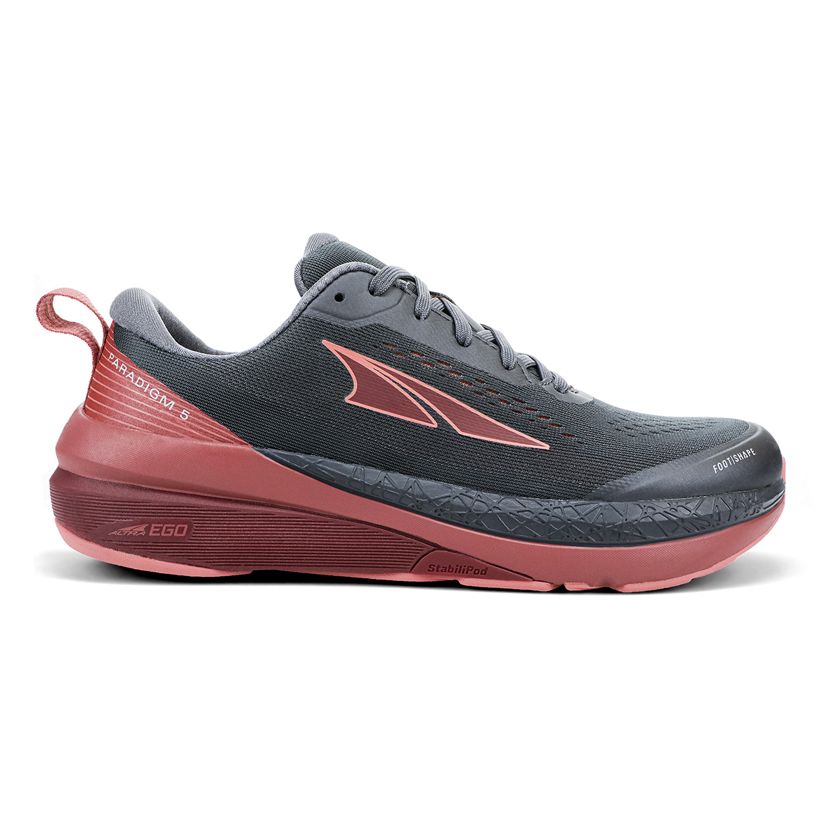 Women's Altra Paradigm 5 Running Shoe - Color: Gray/Coral/Port - Size: 8 - Width: Regular, Gray/Coral/Port, large, image 1