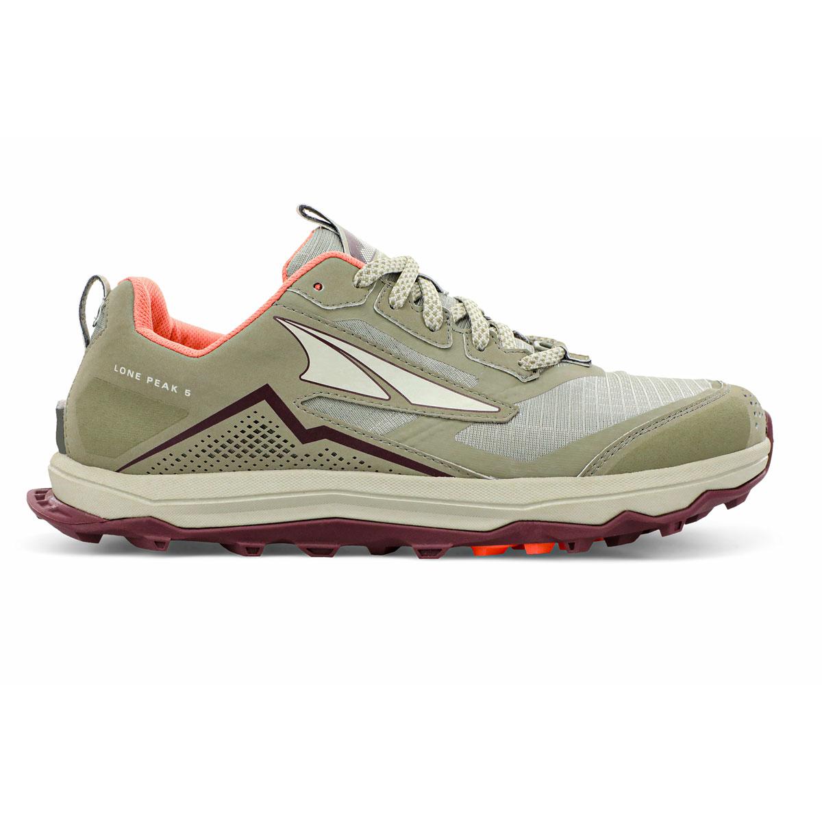 Women's Altra Lone Peak 5 Trail Running Shoe - Color: Khaki - Size: 5.5 - Width: Regular, Khaki, large, image 1