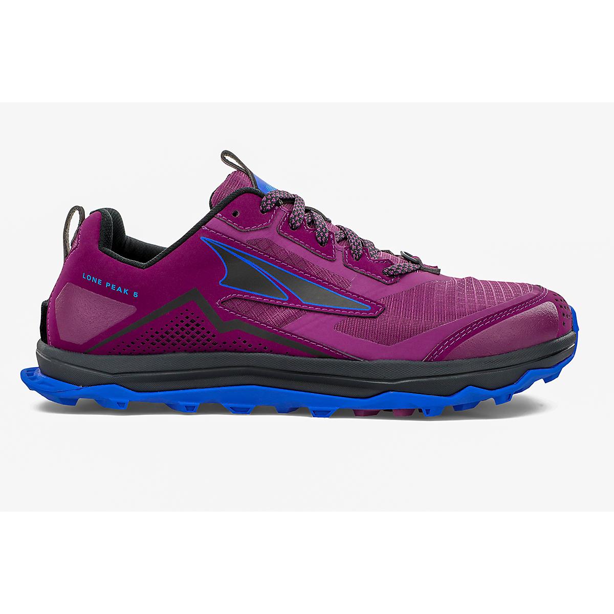 Women's Altra Lone Peak 5 Trail Running Shoe - Color: Plum - Size: 5.5 - Width: Regular, Plum, large, image 1