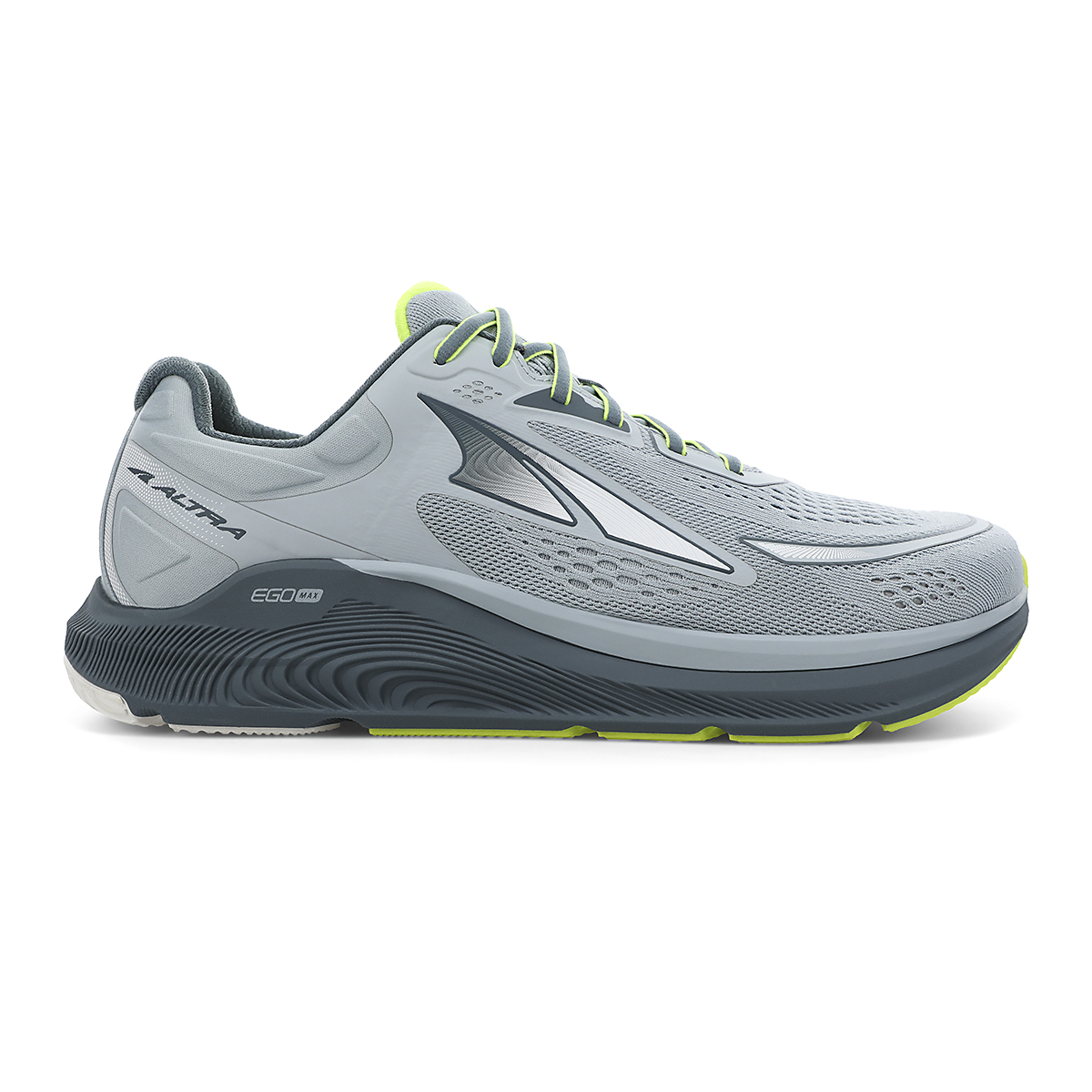 Men's Altra Paradigm 6 Running Shoe - Color: Gray/Lime - Size: 7 - Width: Regular, Gray/Lime, large, image 1