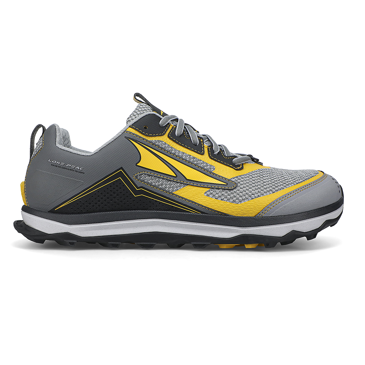Men's Altra Lone Peak 5 10th Anniversary Special Edition Trail Running Shoe - Color: Gray/Yellow - Size: 8 - Width: Regular, Gray/Yellow, large, image 1