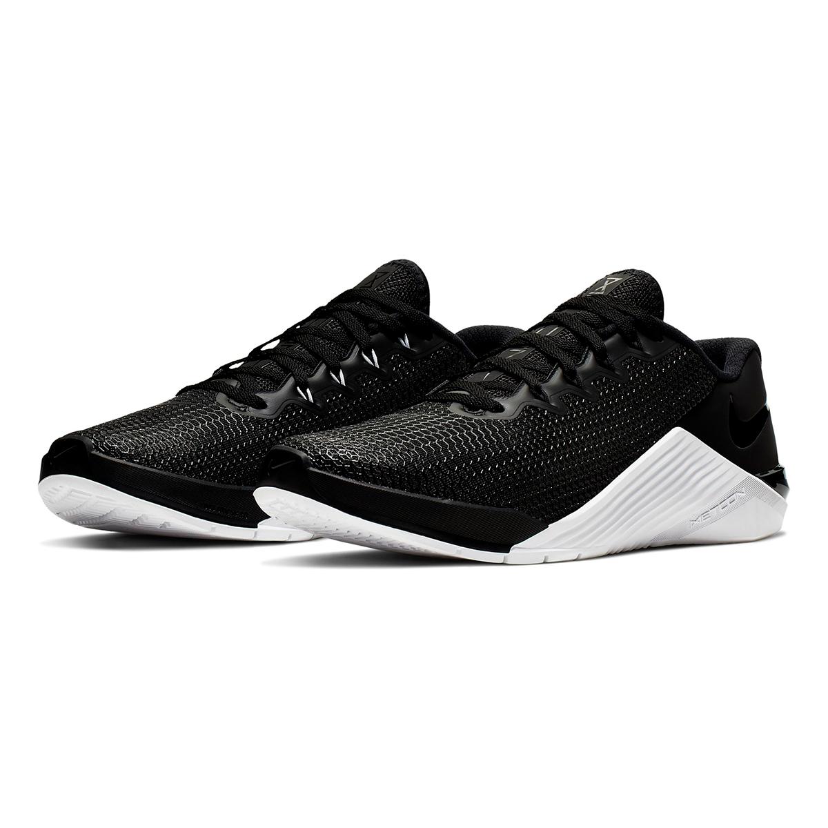 Women's Nike Metcon 5 Training Shoes  - Color: Black/Black White/Wolf Grey - Size: 5 - Width: Regular, Black/Black White/Wolf Grey, large, image 4