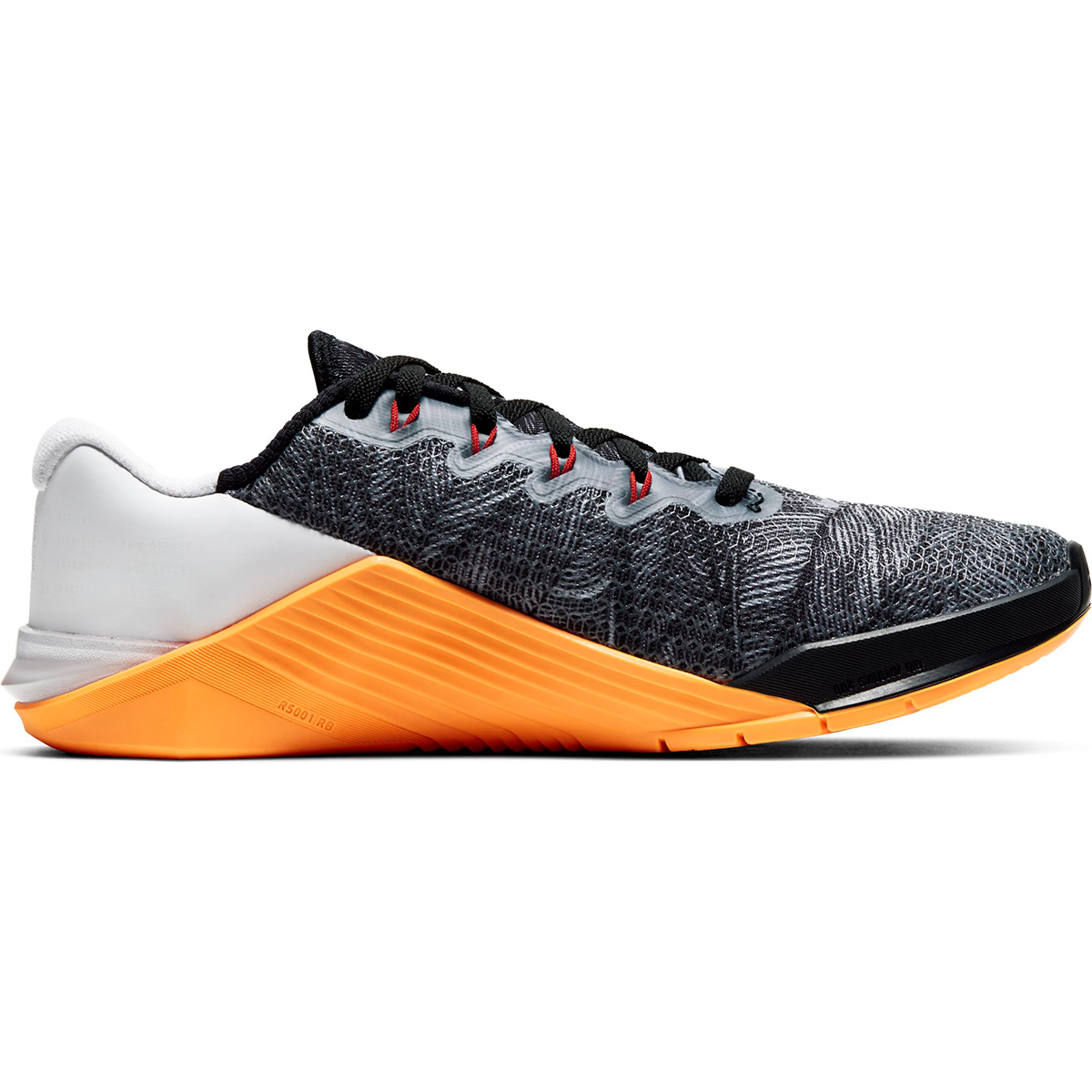 Women's Nike Metcon 5 Training Shoes - Color: Black/White/Laser Orange/Team Orange (Regular Width) - Size: 5, Black/White/Laser Orange/Team Orange, large, image 1