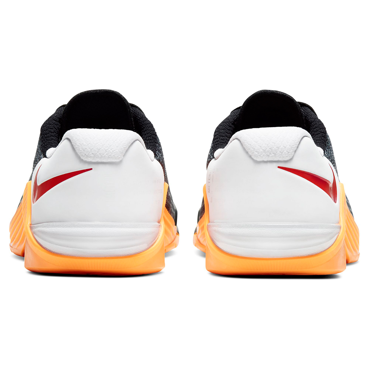 Women's Nike Metcon 5 Training Shoes - Color: Black/White/Laser Orange/Team Orange (Regular Width) - Size: 5, Black/White/Laser Orange/Team Orange, large, image 3