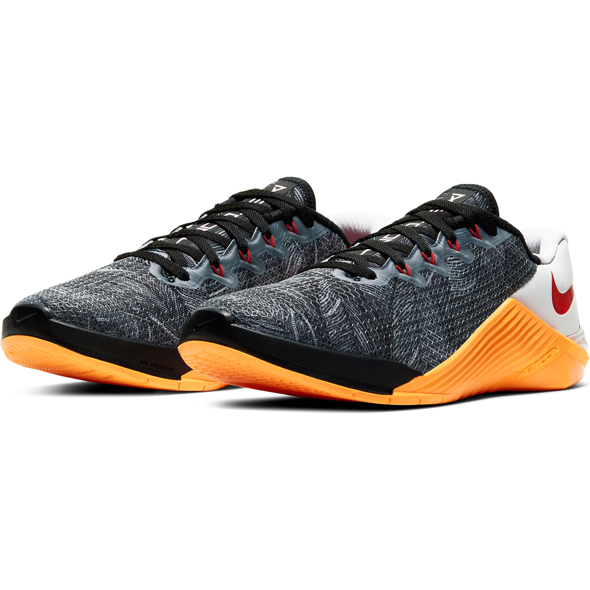 Women's Nike Metcon 5 Training Shoes - Color: Black/White/Laser Orange/Team Orange (Regular Width) - Size: 5, Black/White/Laser Orange/Team Orange, large, image 4