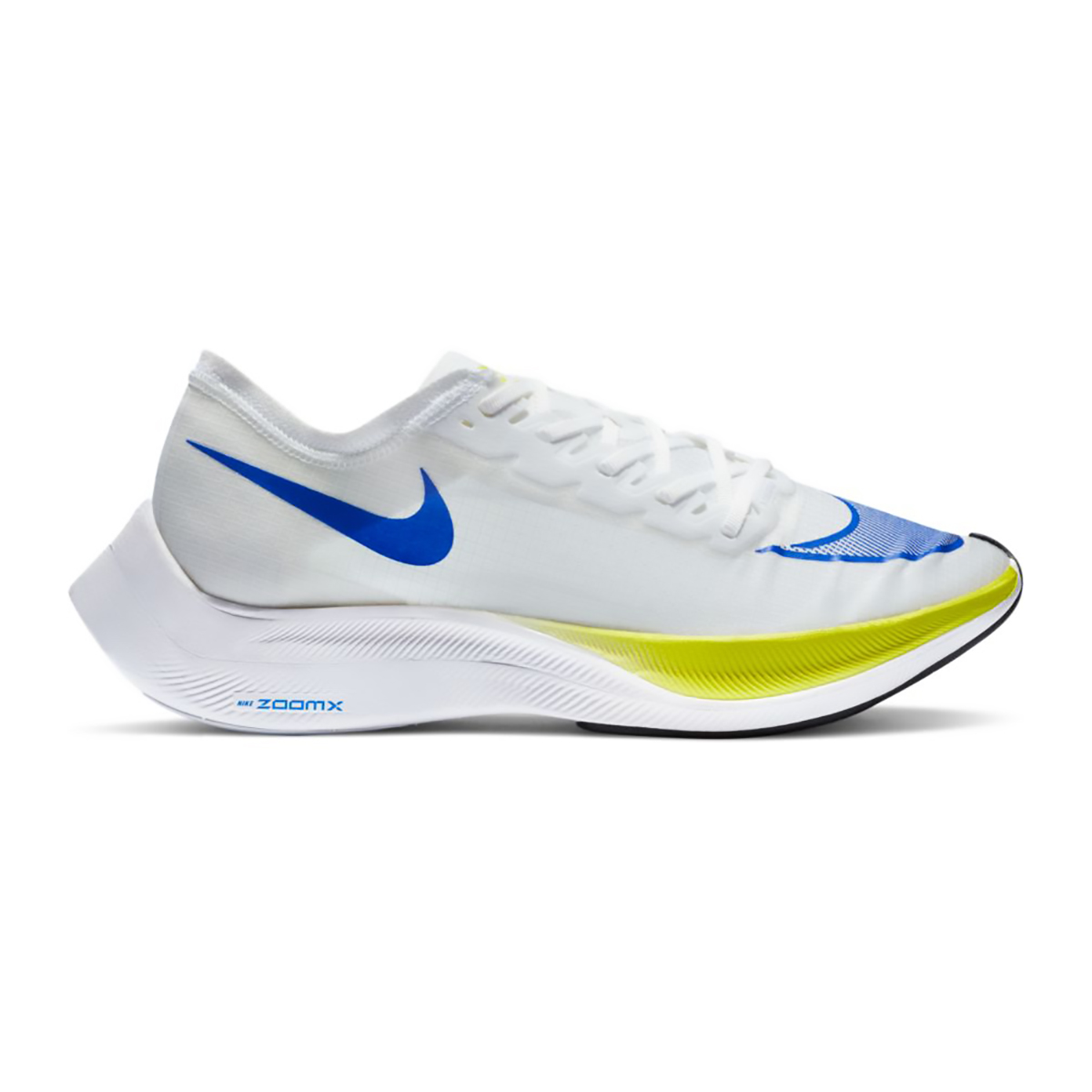 Nike ZoomX Vaporfly NEXT% Running Shoe - Color: White/Racer Blue/Cyber/Black - Size: M5/W6.5 - Width: Regular, White/Racer Blue/Cyber/Black, large, image 1