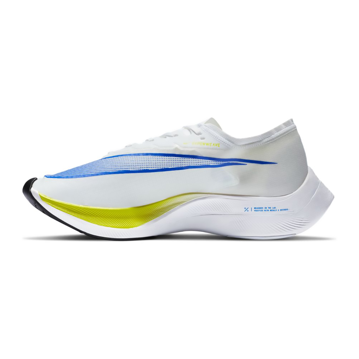 Nike ZoomX Vaporfly NEXT% Running Shoe - Color: White/Racer Blue/Cyber/Black - Size: M5/W6.5 - Width: Regular, White/Racer Blue/Cyber/Black, large, image 2