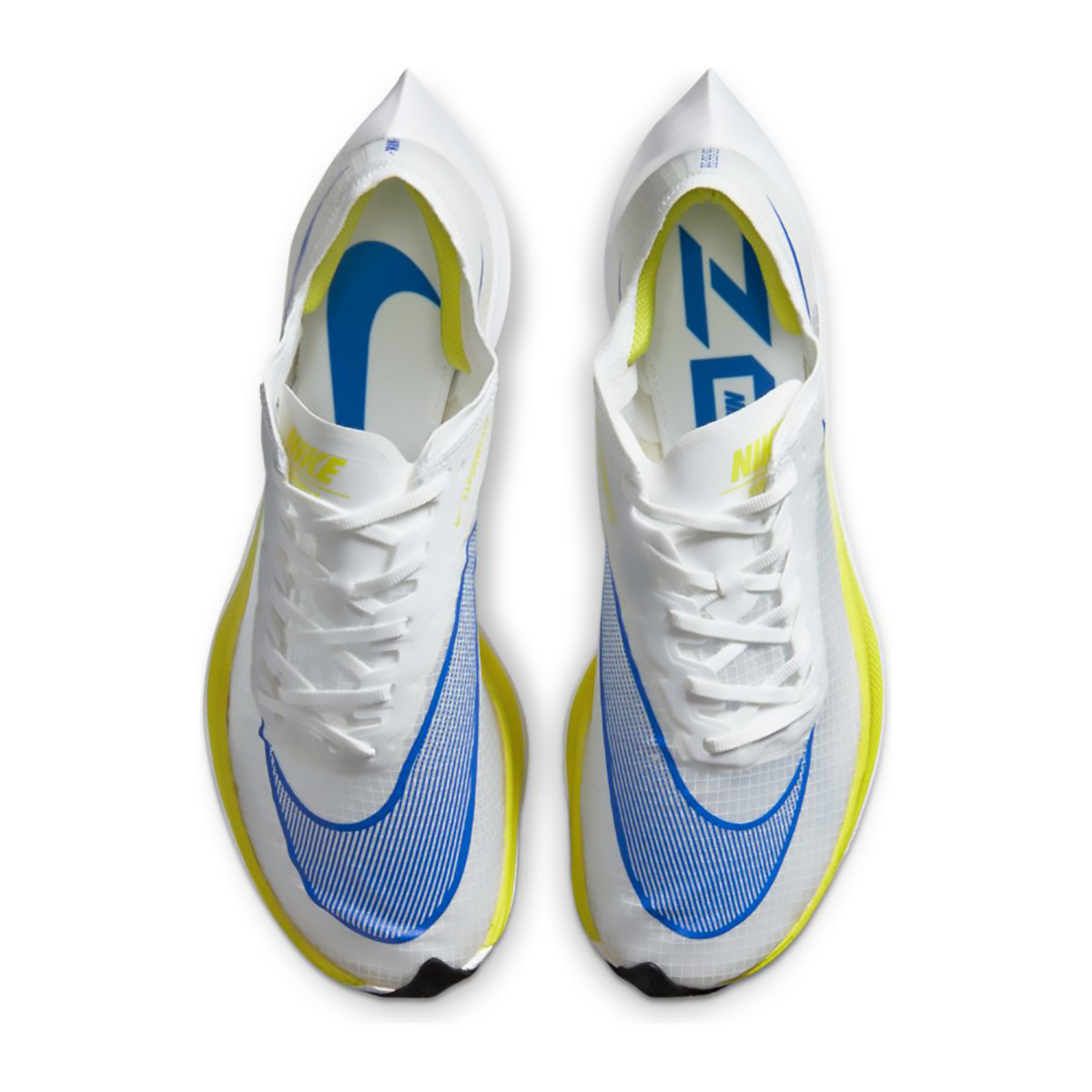 Nike ZoomX Vaporfly NEXT% Running Shoe - Color: White/Racer Blue/Cyber/Black - Size: M5/W6.5 - Width: Regular, White/Racer Blue/Cyber/Black, large, image 3