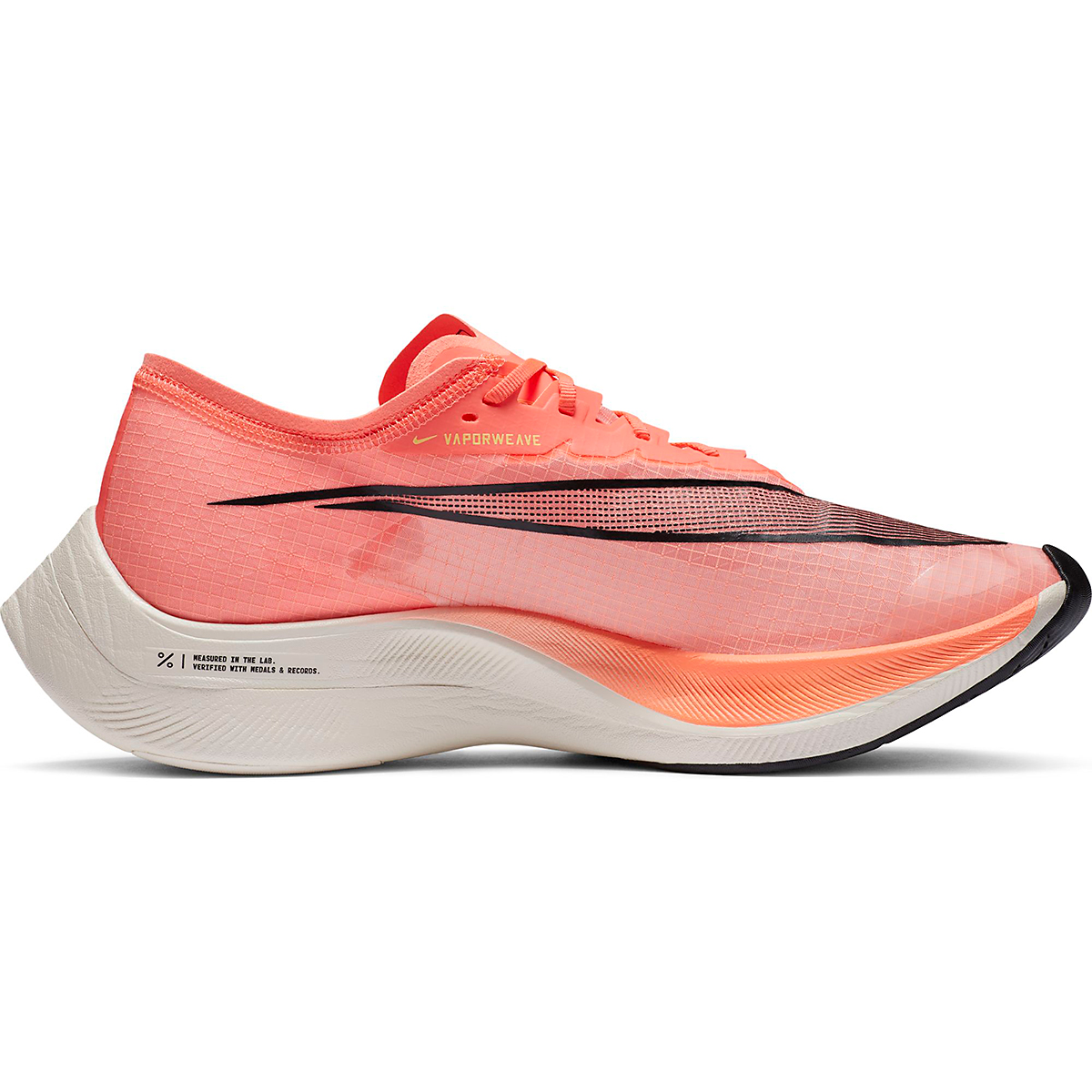 Nike ZoomX Vaporfly NEXT% Running Shoe - Color: Bright Mango/Citron Pulse - Size: M3.5/W5 - Width: Regular, Bright Mango/Citron Pulse, large, image 1