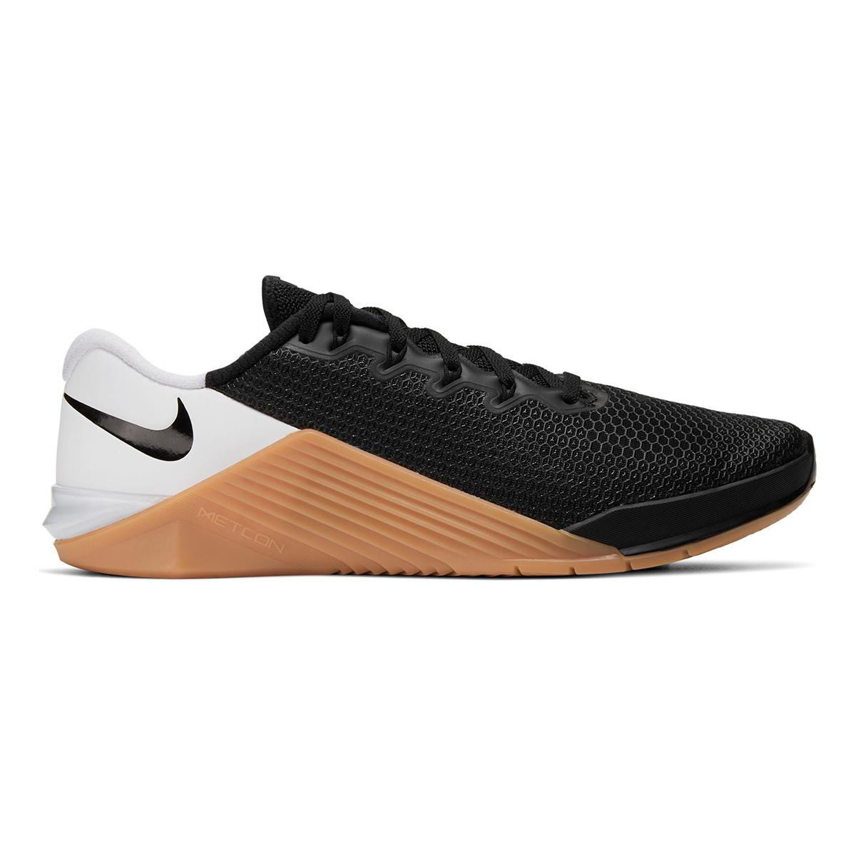 Men's Nike Metcon 5 Training Shoes  - Color: Black/White/Gum Med Brown - Size: 5 - Width: Regular, Black/White/Gum Med Brown, large, image 1