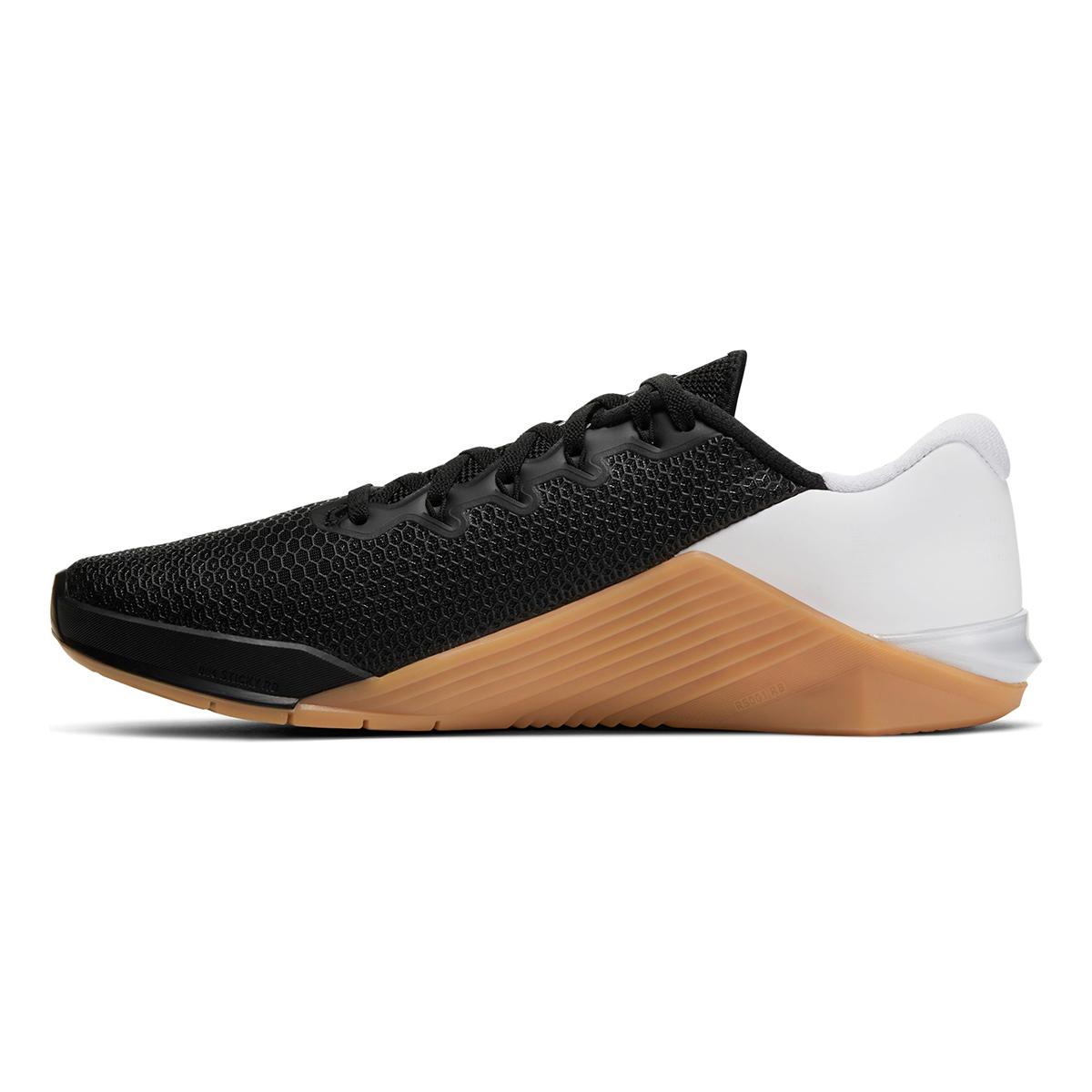 Men's Nike Metcon 5 Training Shoes  - Color: Black/White/Gum Med Brown - Size: 5 - Width: Regular, Black/White/Gum Med Brown, large, image 2