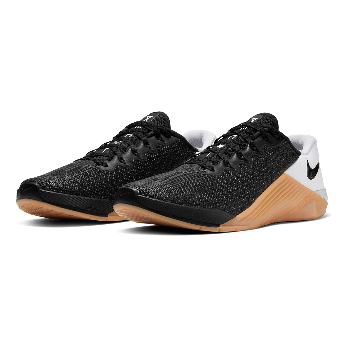 Men's Nike Metcon 5 Training Shoes  - Color: Black/White/Gum Med Brown - Size: 5 - Width: Regular, Black/White/Gum Med Brown, large, image 4