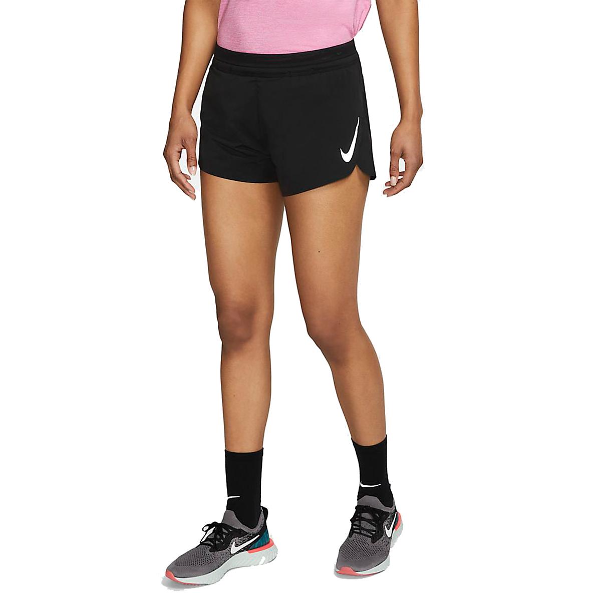 Women's Nike AeroSwift Track Short - Color: Black/Reflective - Size: XL, Black/Reflective, large, image 1