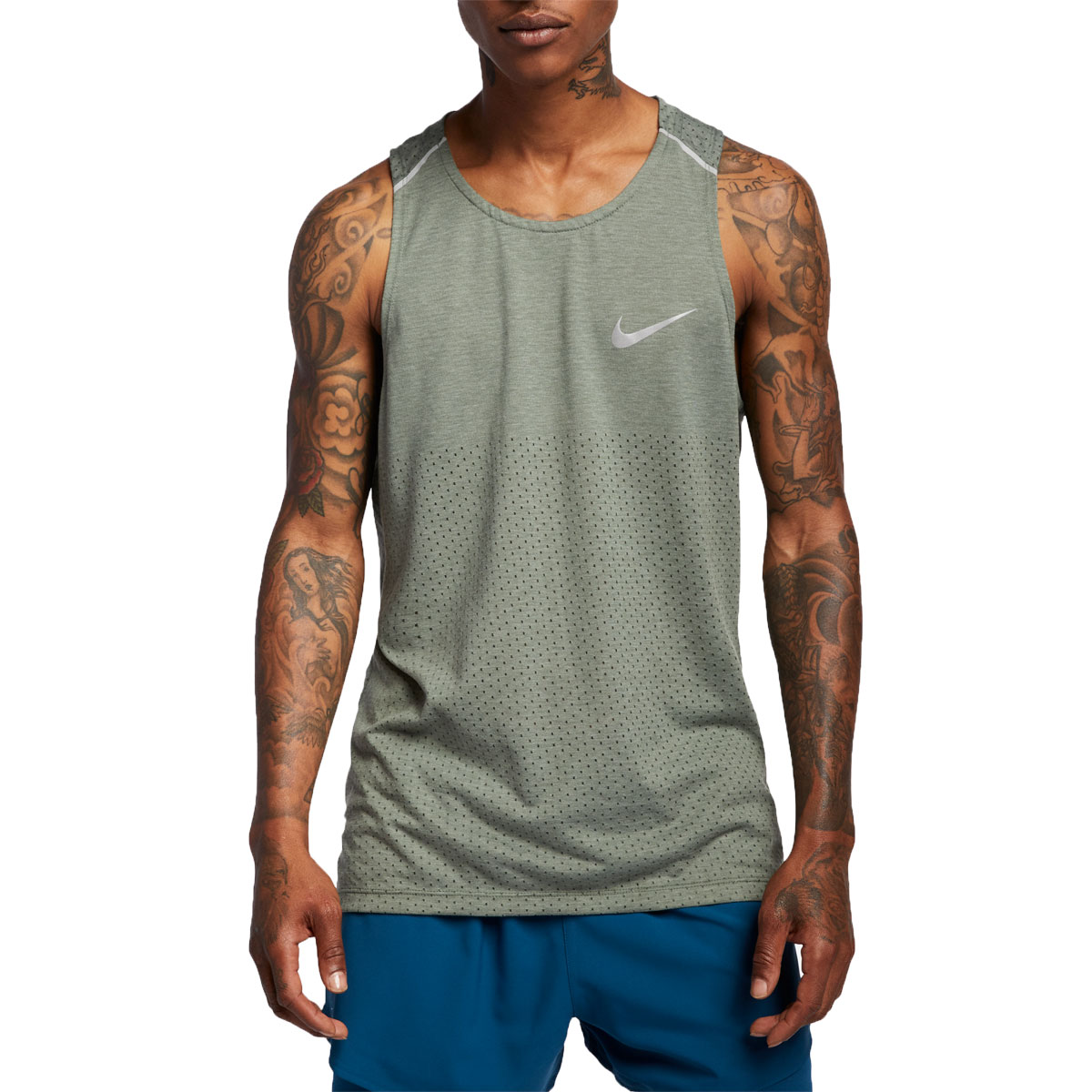Men's Nike Breathe Rise 365 Tank  - Color: Juniper Fog/Heather - Size: XL, Juniper Fog/Heather, large, image 1