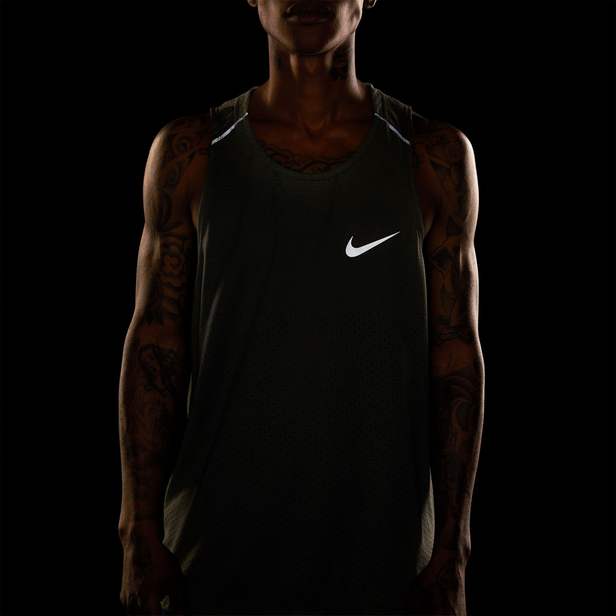 Men's Nike Breathe Rise 365 Tank  - Color: Juniper Fog/Heather - Size: XL, Juniper Fog/Heather, large, image 4