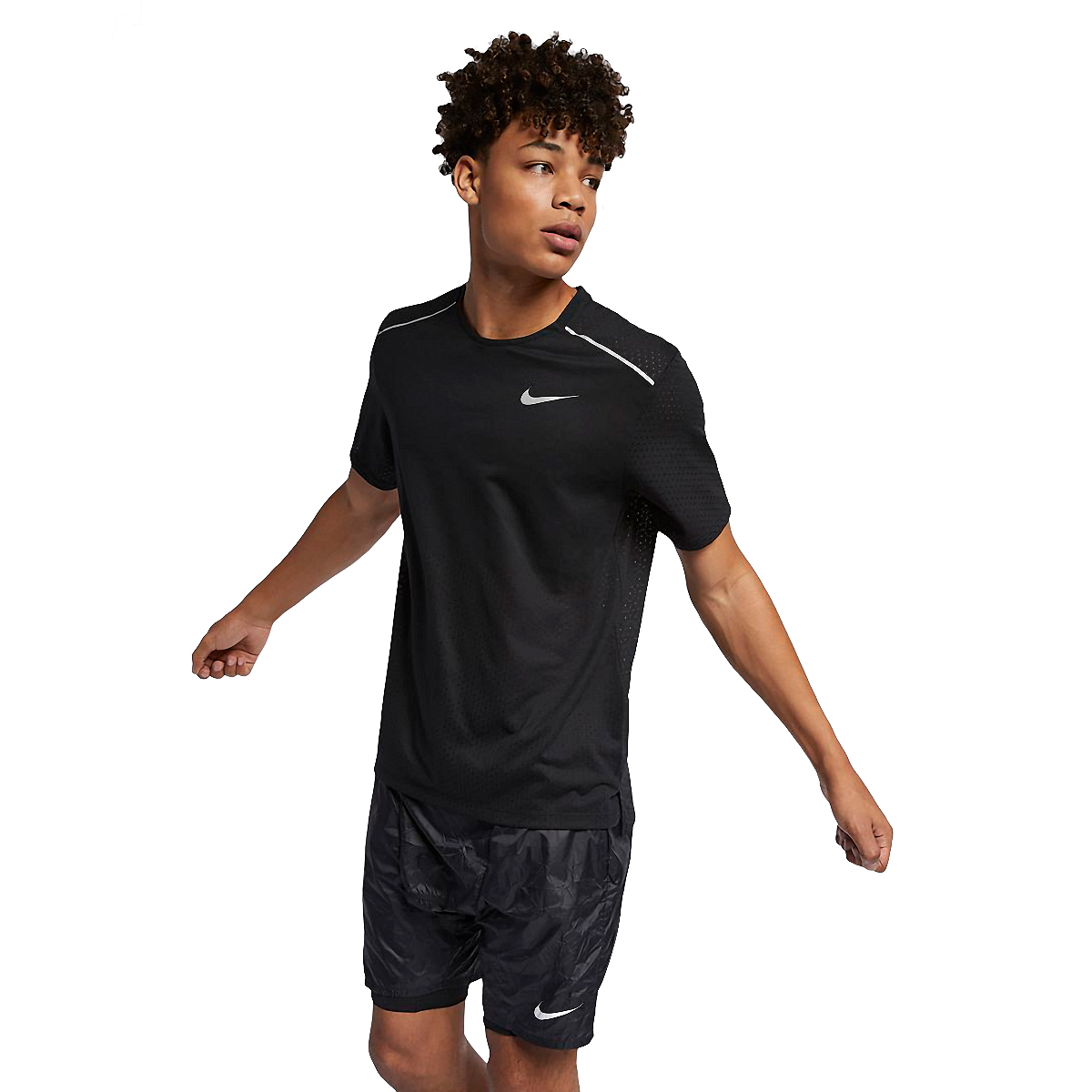 Men's Nike Breathe Rise 365 Short Sleeve  - Color: Black/Reflective - Size: S, Black/Reflective, large, image 1