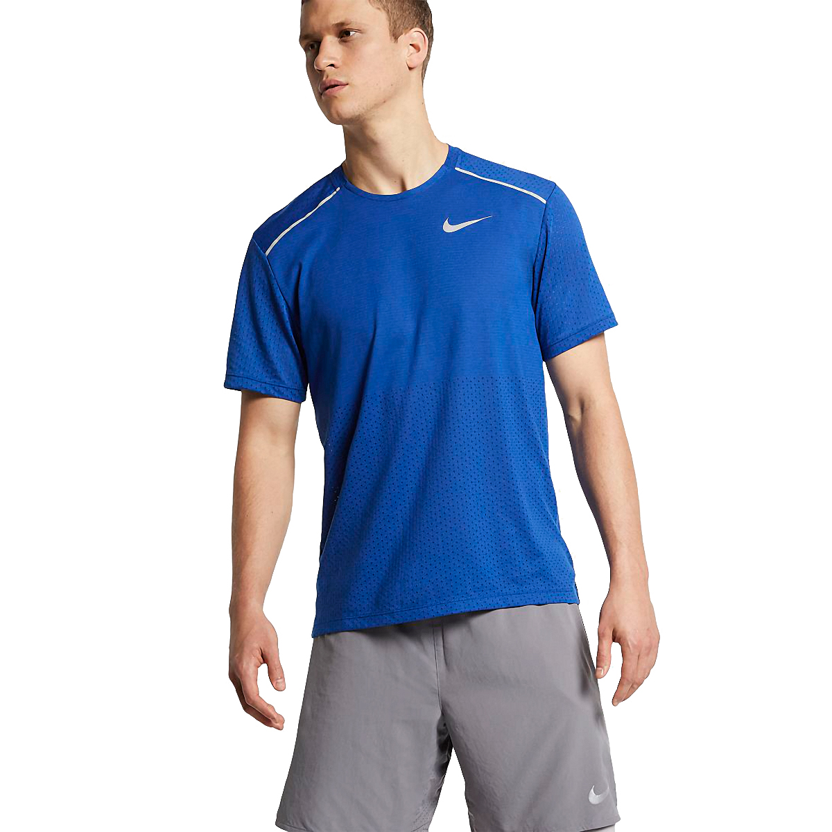 Men's Nike Breathe Rise 365 Short Sleeve  - Color: Indigo Force/Reflective - Size: S, Indigo Force/Reflective, large, image 1