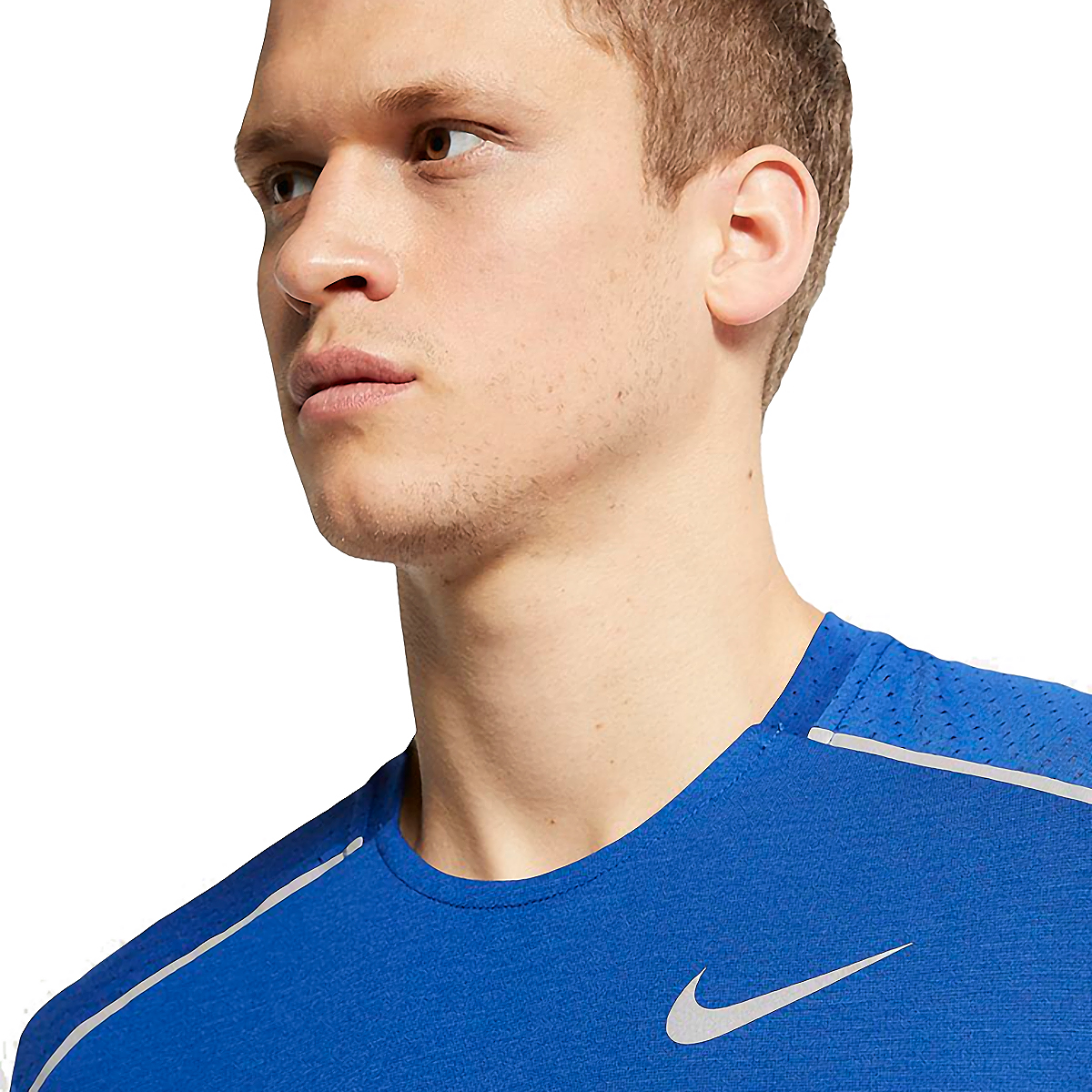 Men's Nike Breathe Rise 365 Short Sleeve  - Color: Indigo Force/Reflective - Size: S, Indigo Force/Reflective, large, image 3