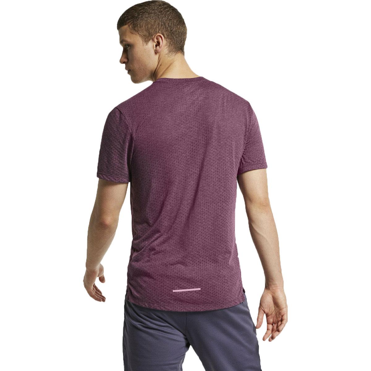 Men's Nike Breathe Rise 365 Short Sleeve  - Color: Bordeaux/Heather - Size: M, Bordeaux/Heather, large, image 2
