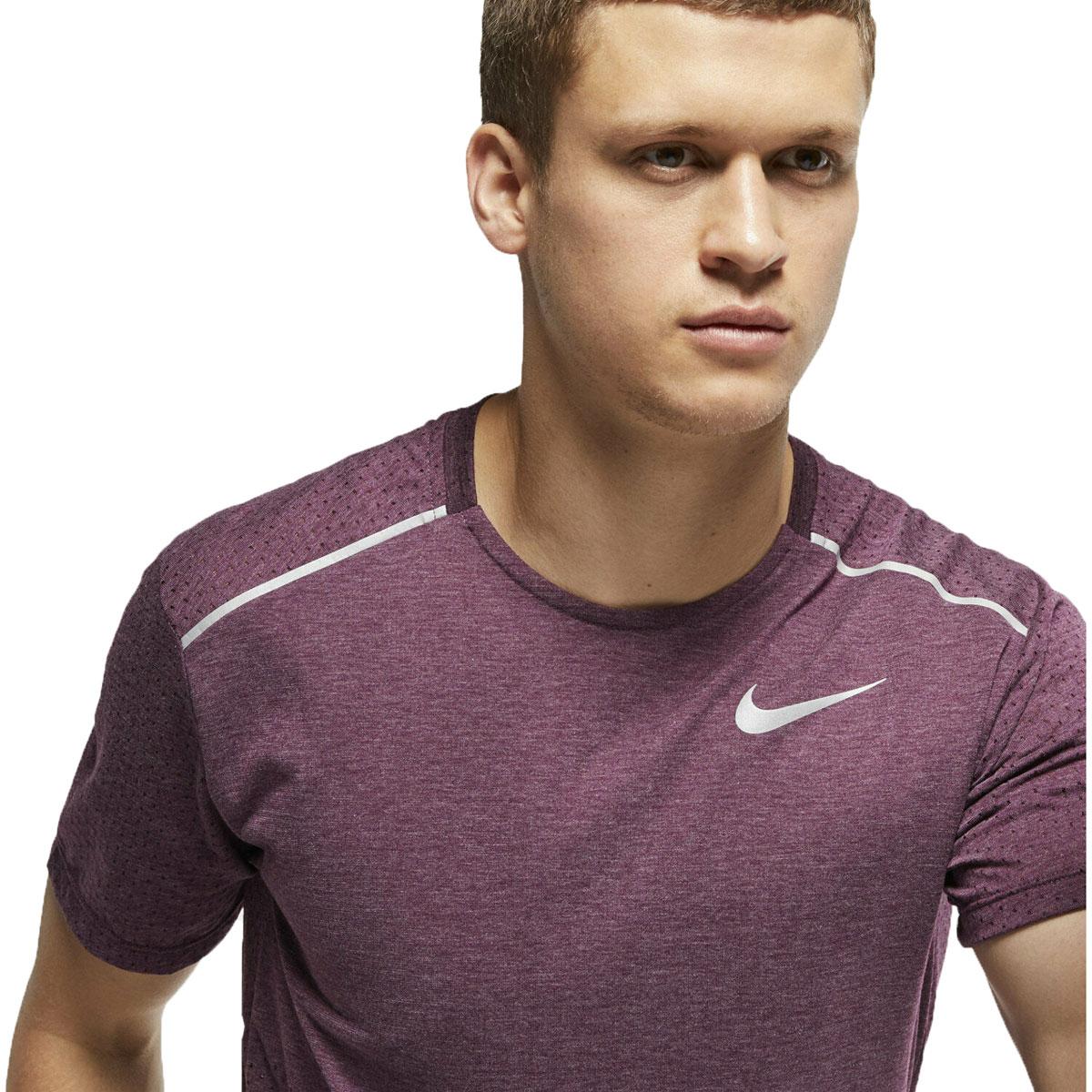Men's Nike Breathe Rise 365 Short Sleeve  - Color: Bordeaux/Heather - Size: M, Bordeaux/Heather, large, image 3